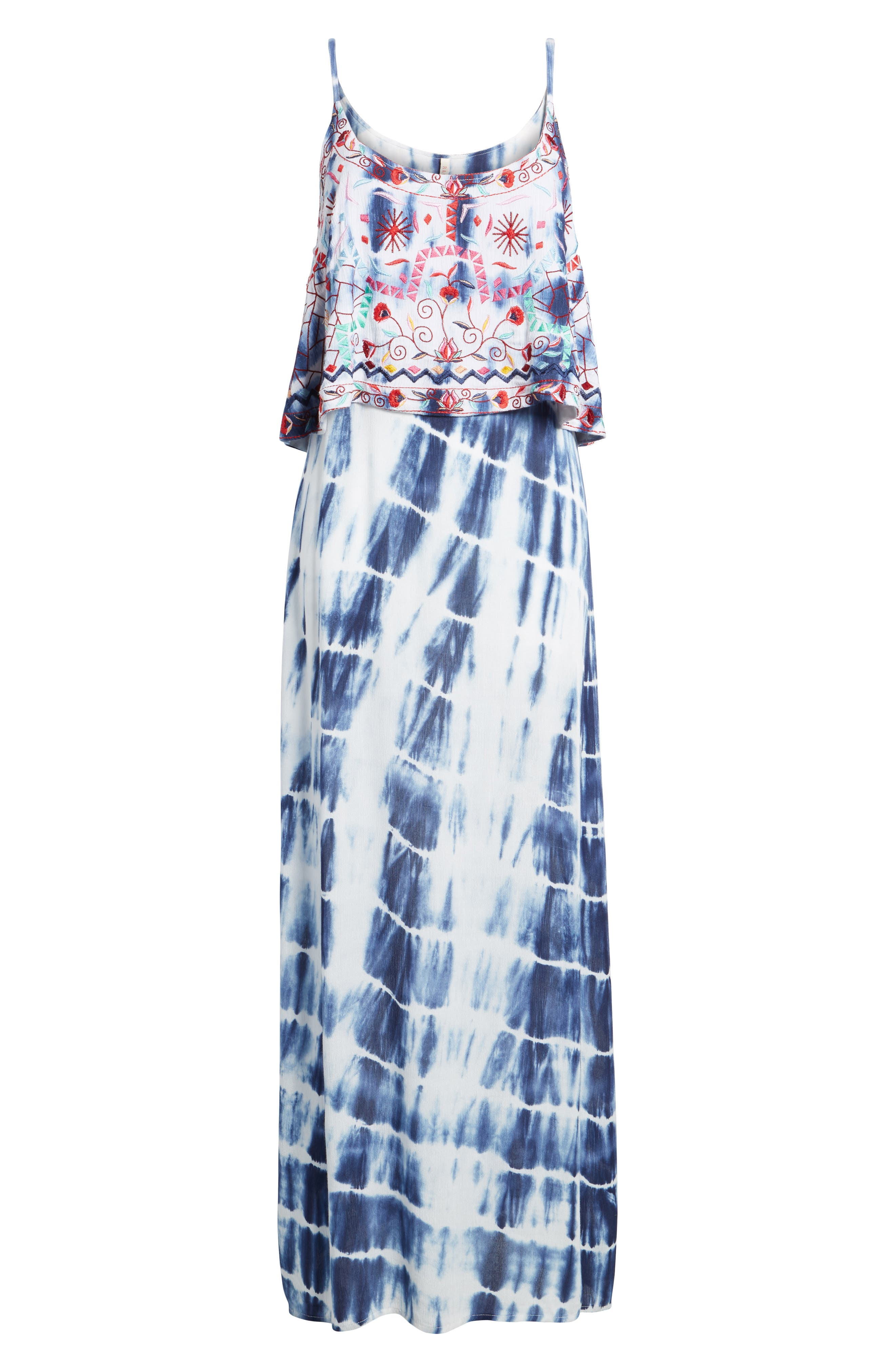 Catching The Waves Embroidered Maxi Dress,                             Alternate thumbnail 6, color,