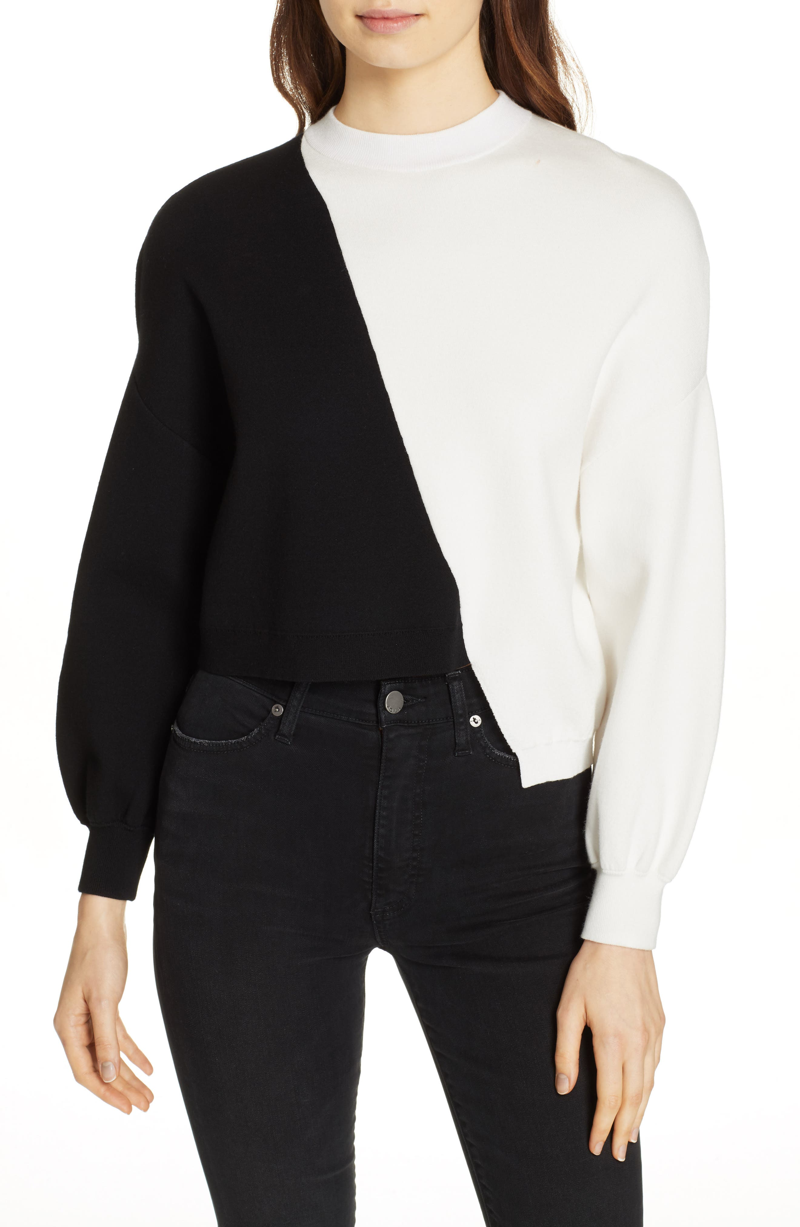 Elyse Asymmetrical Crop Pullover,                             Main thumbnail 1, color,                             BLACK/ WHITE