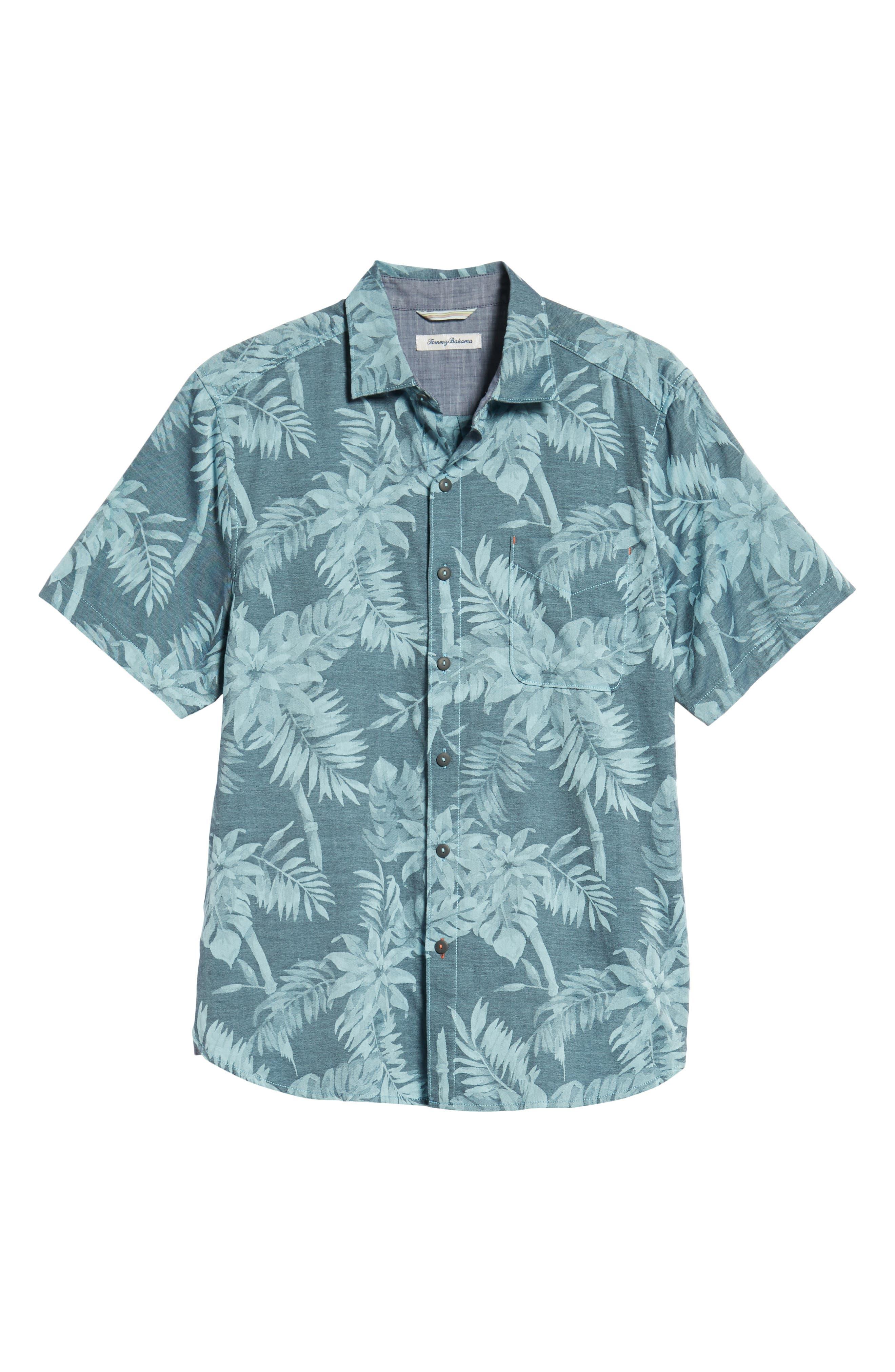 Tropical Tones Regular Fit Sport Shirt,                             Alternate thumbnail 5, color,                             OCEAN DEEP