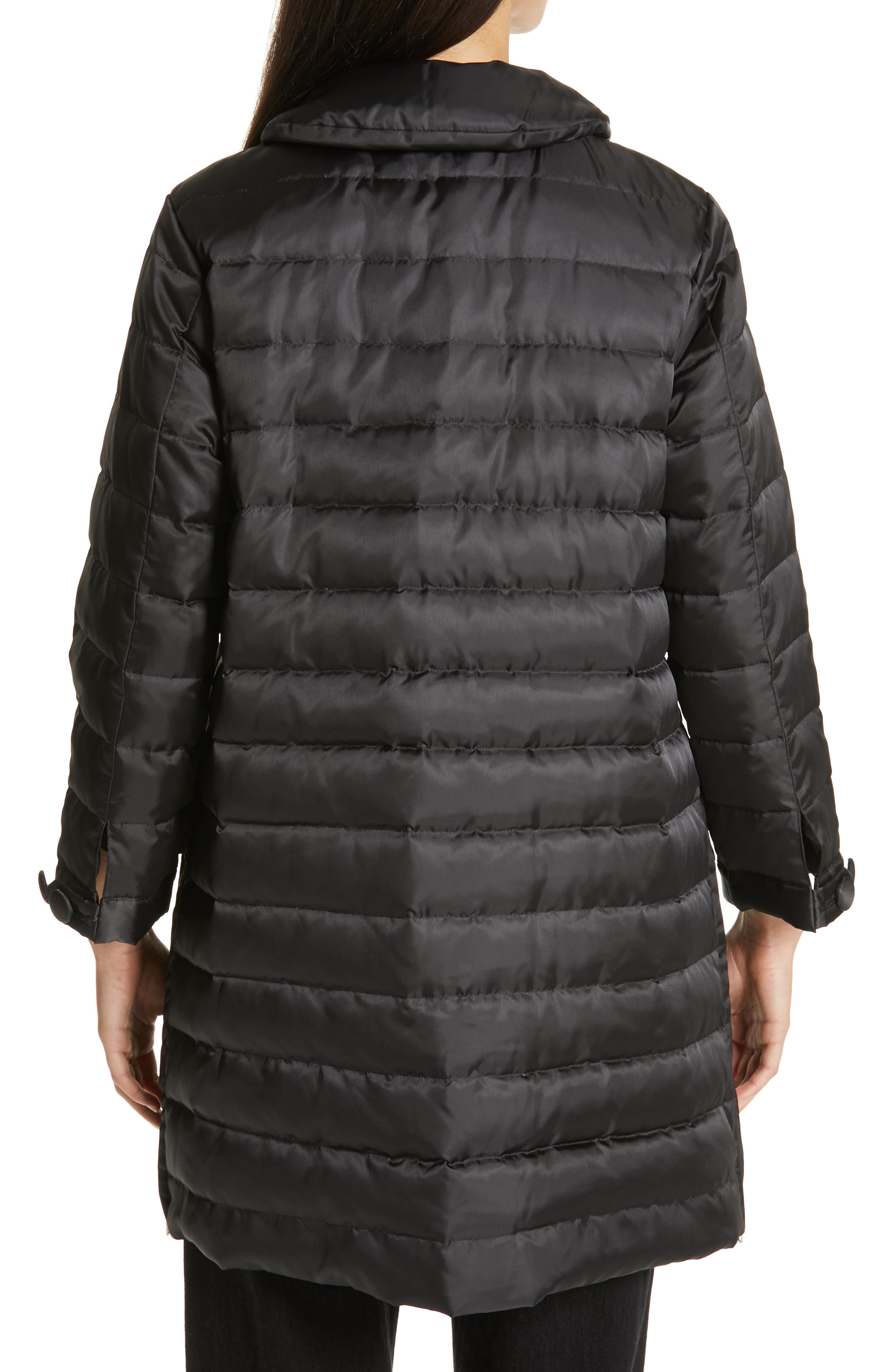 Quilted Down Coat,                             Alternate thumbnail 2, color,                             BLACK