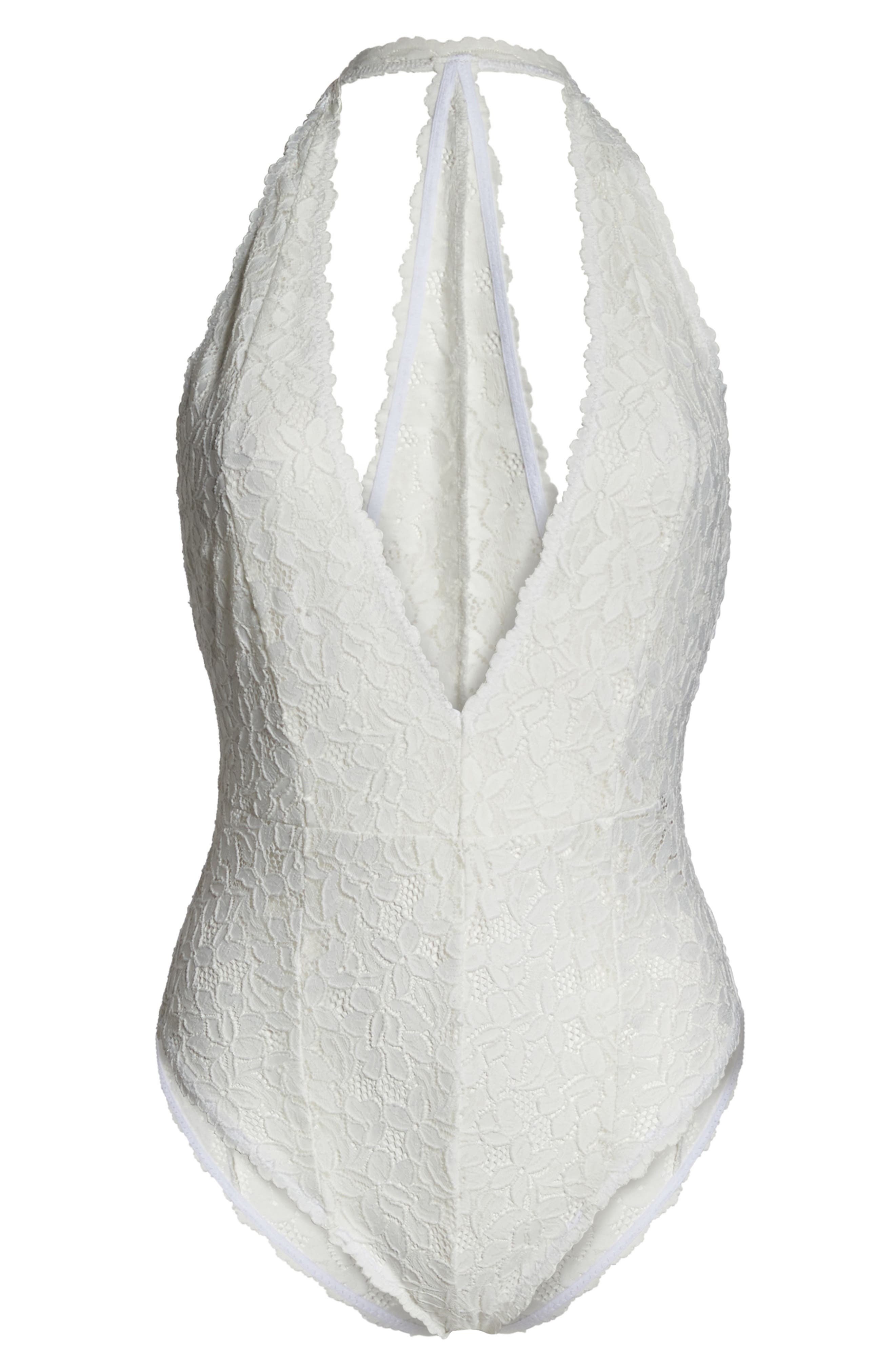 Intimately FP Avery Lace Bodysuit,                             Alternate thumbnail 6, color,                             WHITE