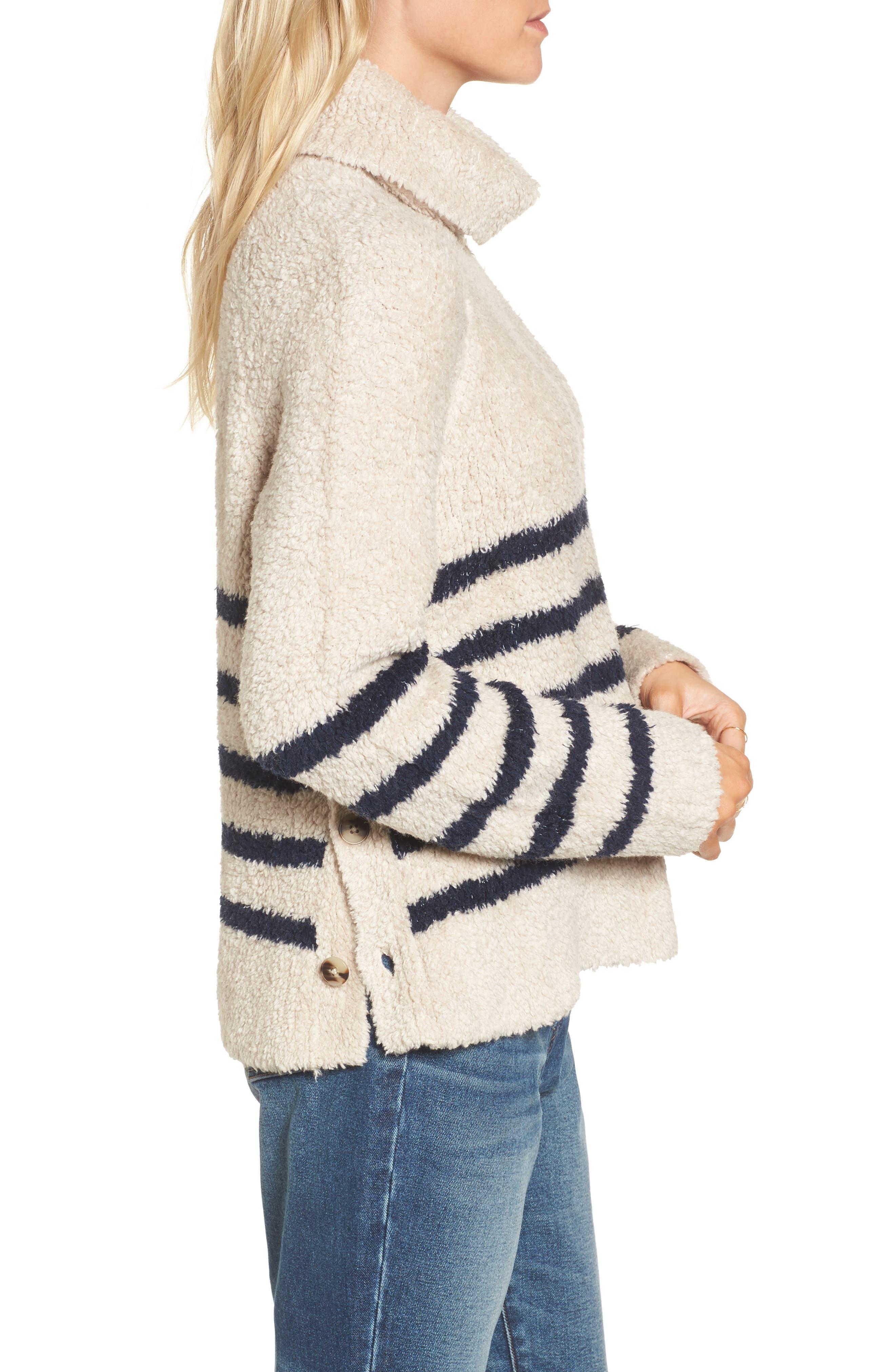 Mariner Stripe Turtleneck Sweater,                             Alternate thumbnail 3, color,                             090