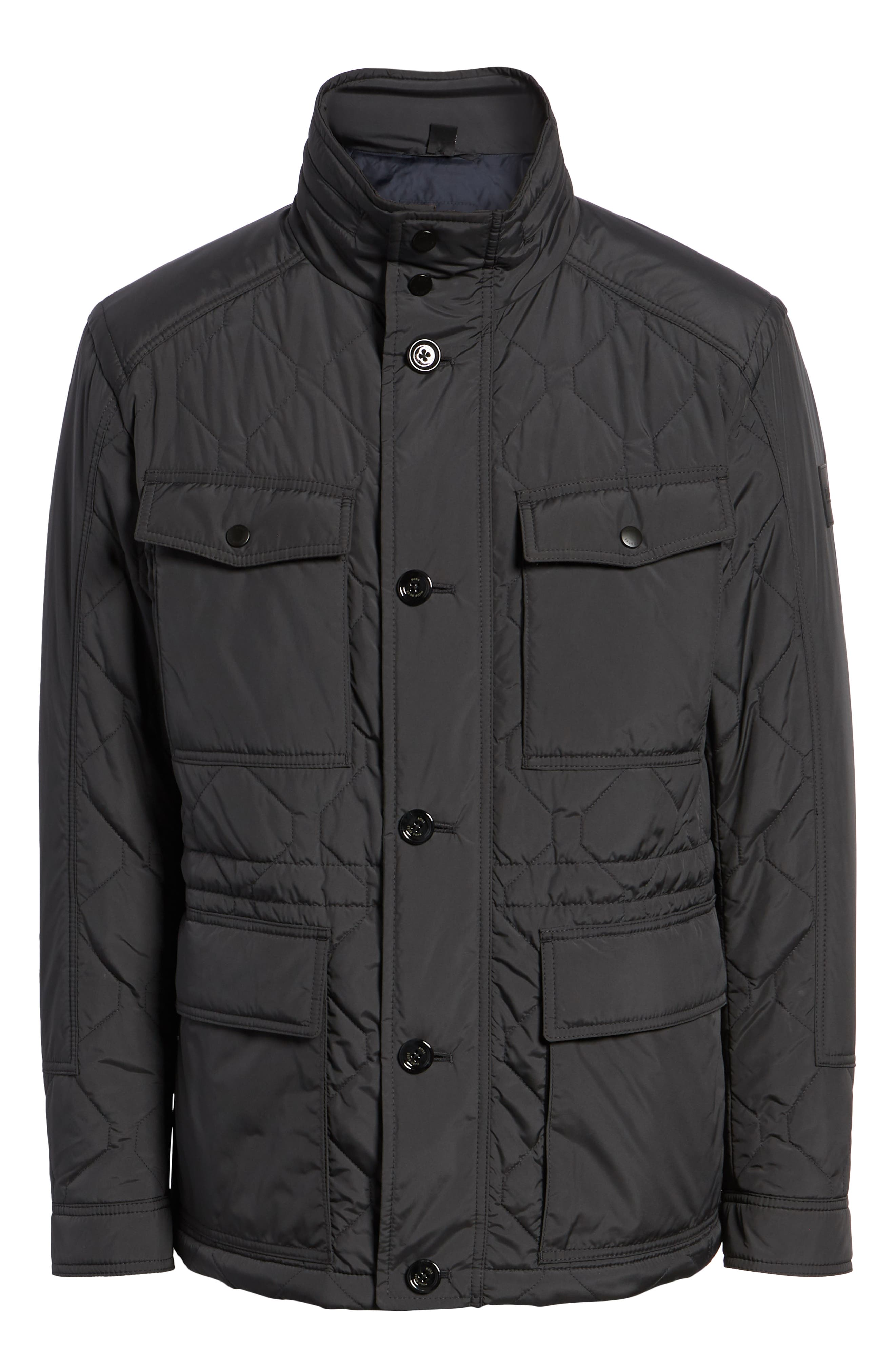 Cloud Quilted Field Jacket with Stowaway Hood,                             Alternate thumbnail 6, color,                             GREY