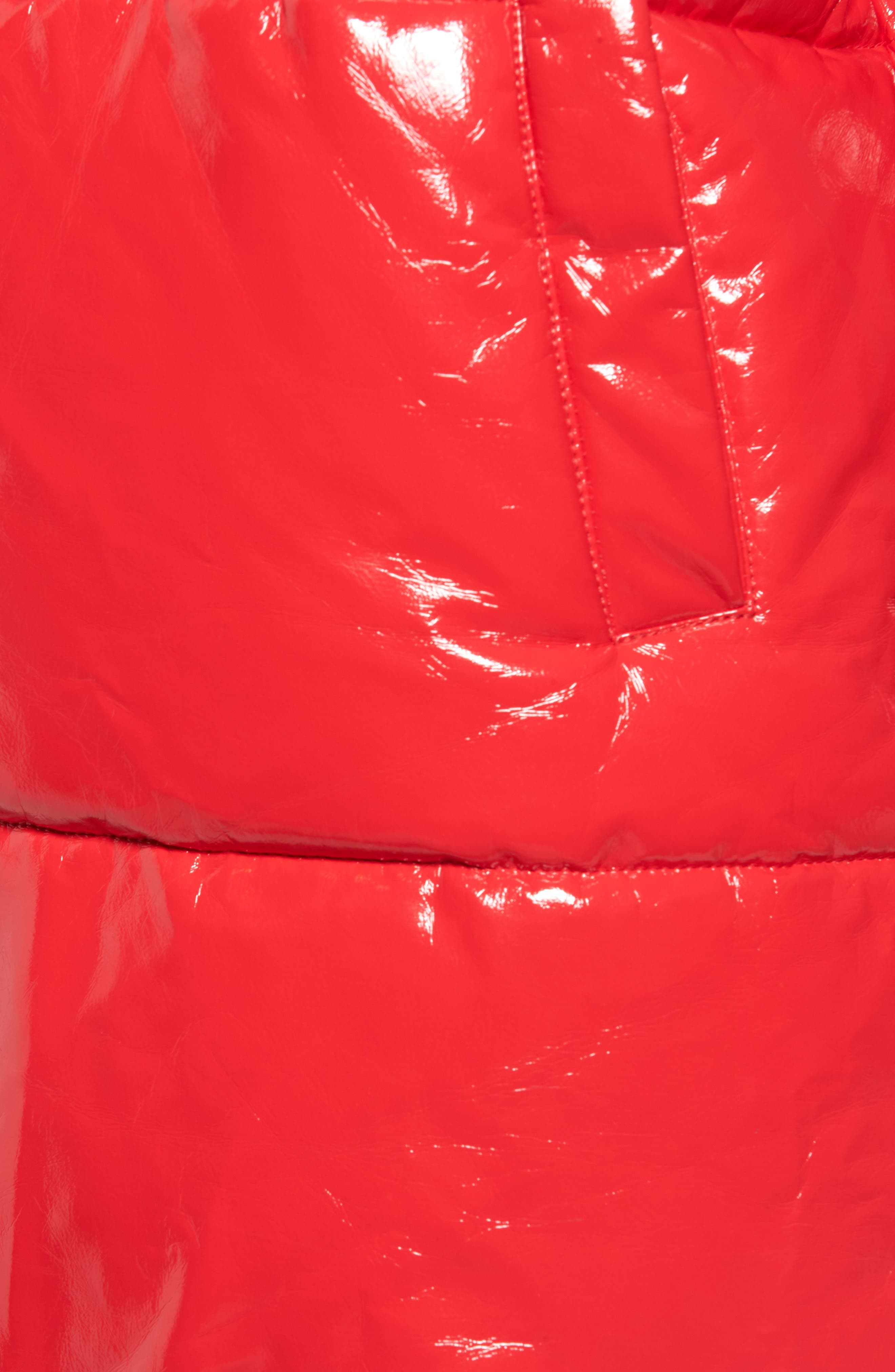 Glossy Puffer Jacket,                             Alternate thumbnail 7, color,                             TOMATO