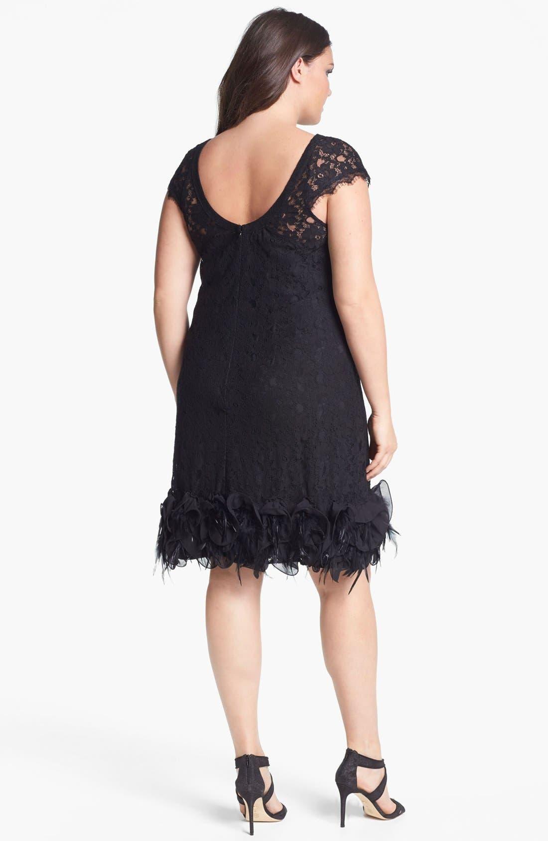 Feather Trim Lace Dress,                             Alternate thumbnail 3, color,                             001