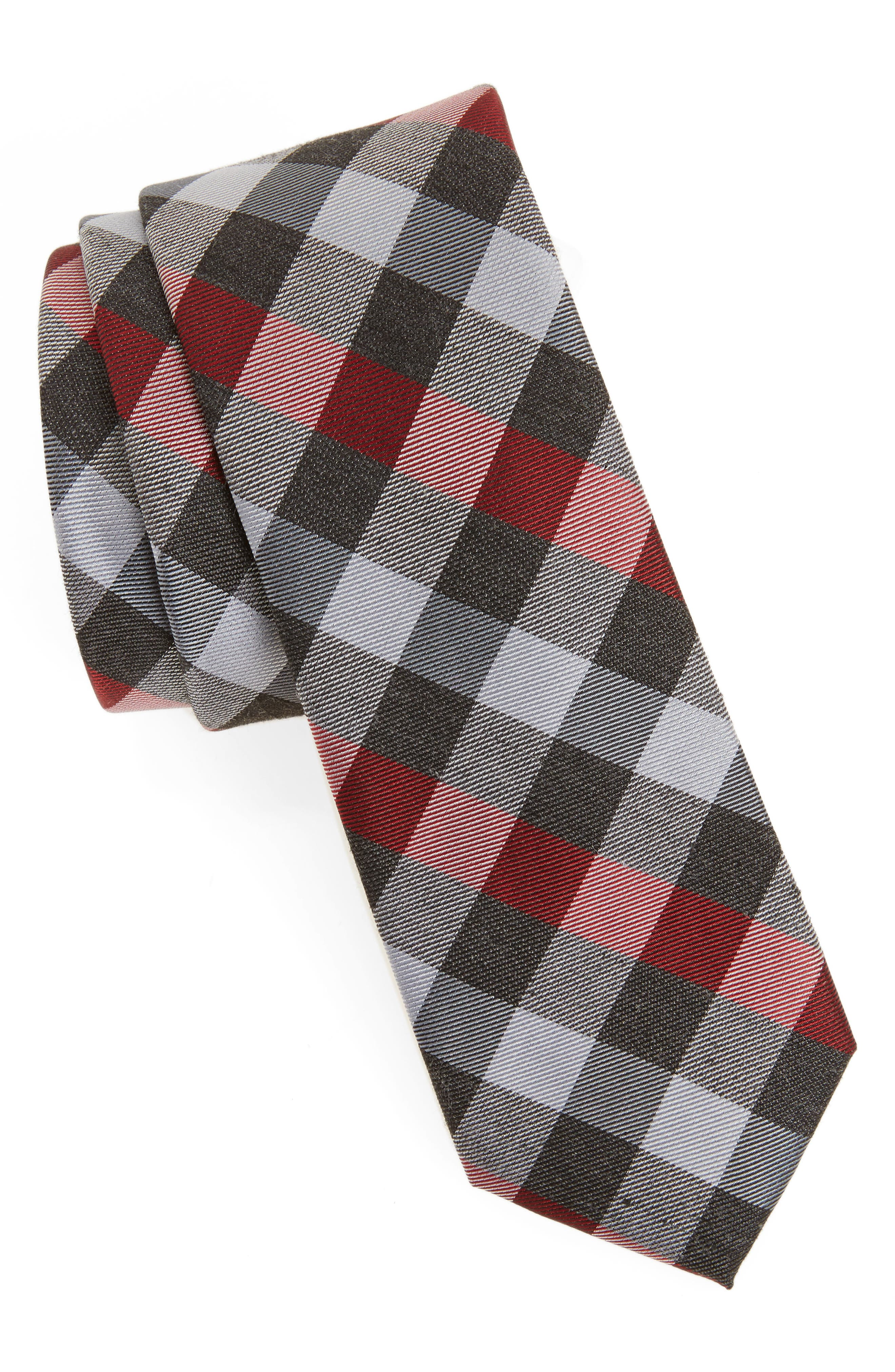 Schoolboy Gingham Check Silk Tie,                             Main thumbnail 2, color,