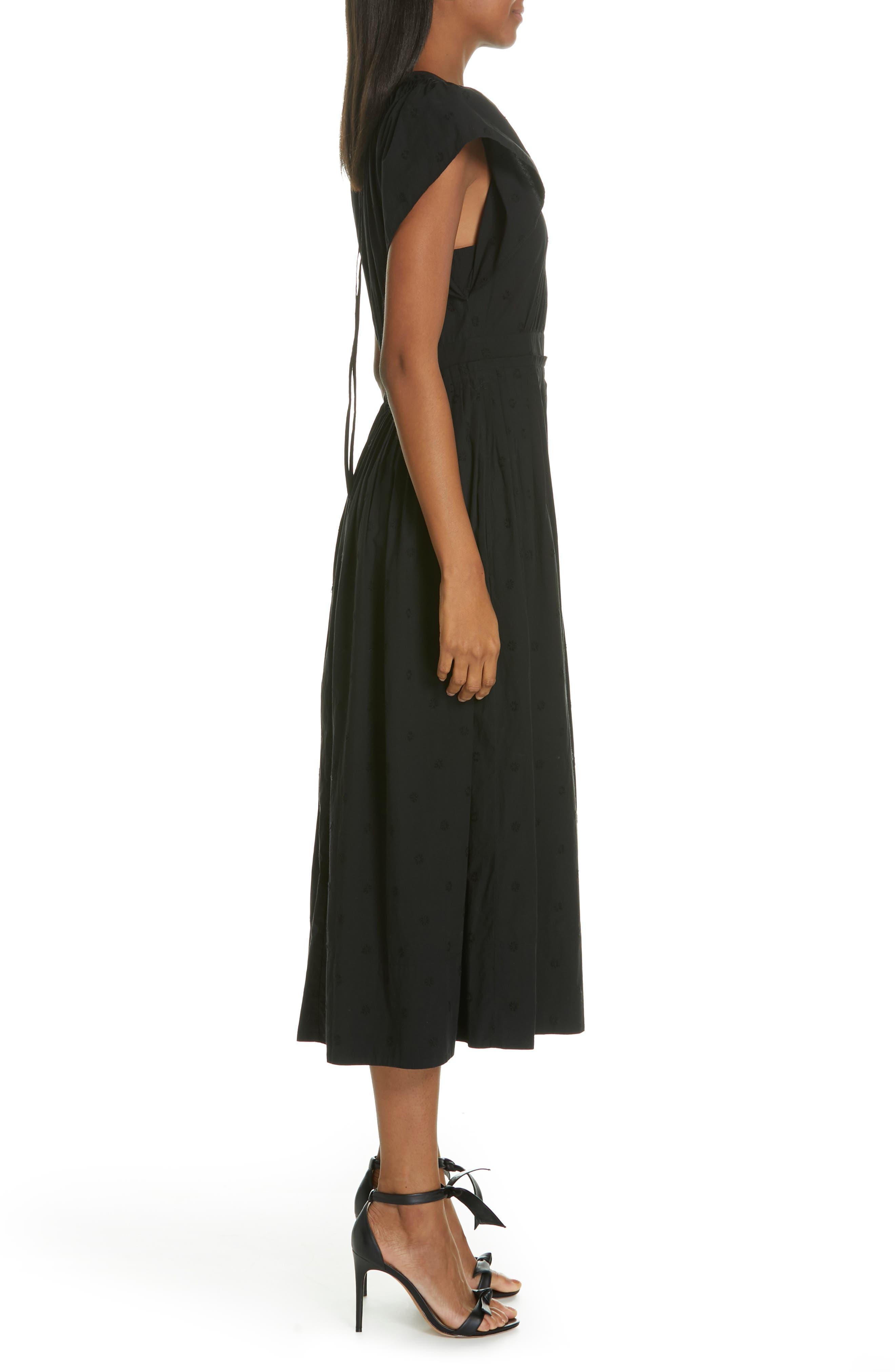 Lottie Embroidered Midi Dress,                             Alternate thumbnail 3, color,                             JET