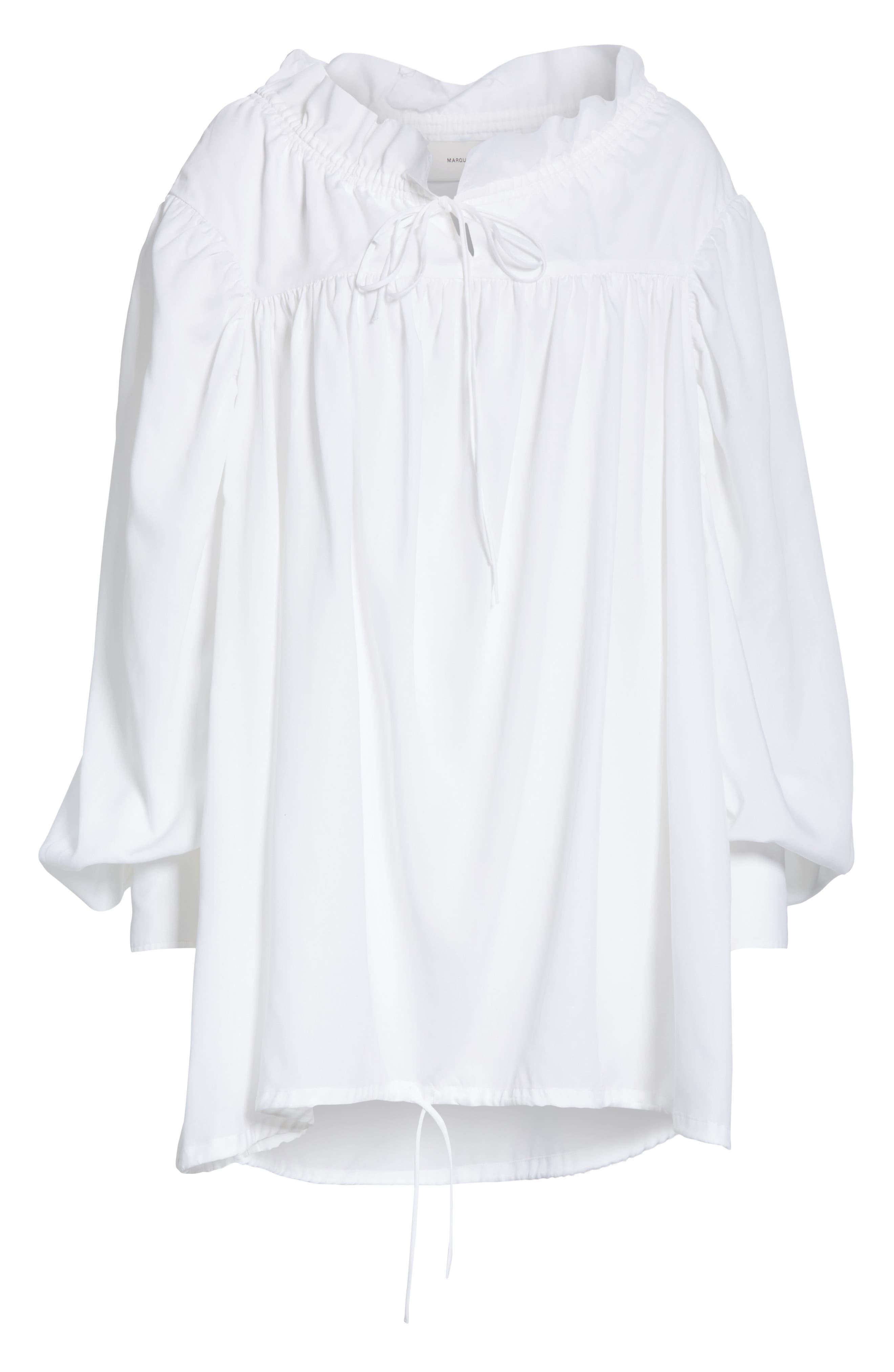 Marques'Almeida Gathered Yoke Shirt,                             Alternate thumbnail 6, color,                             WHITE