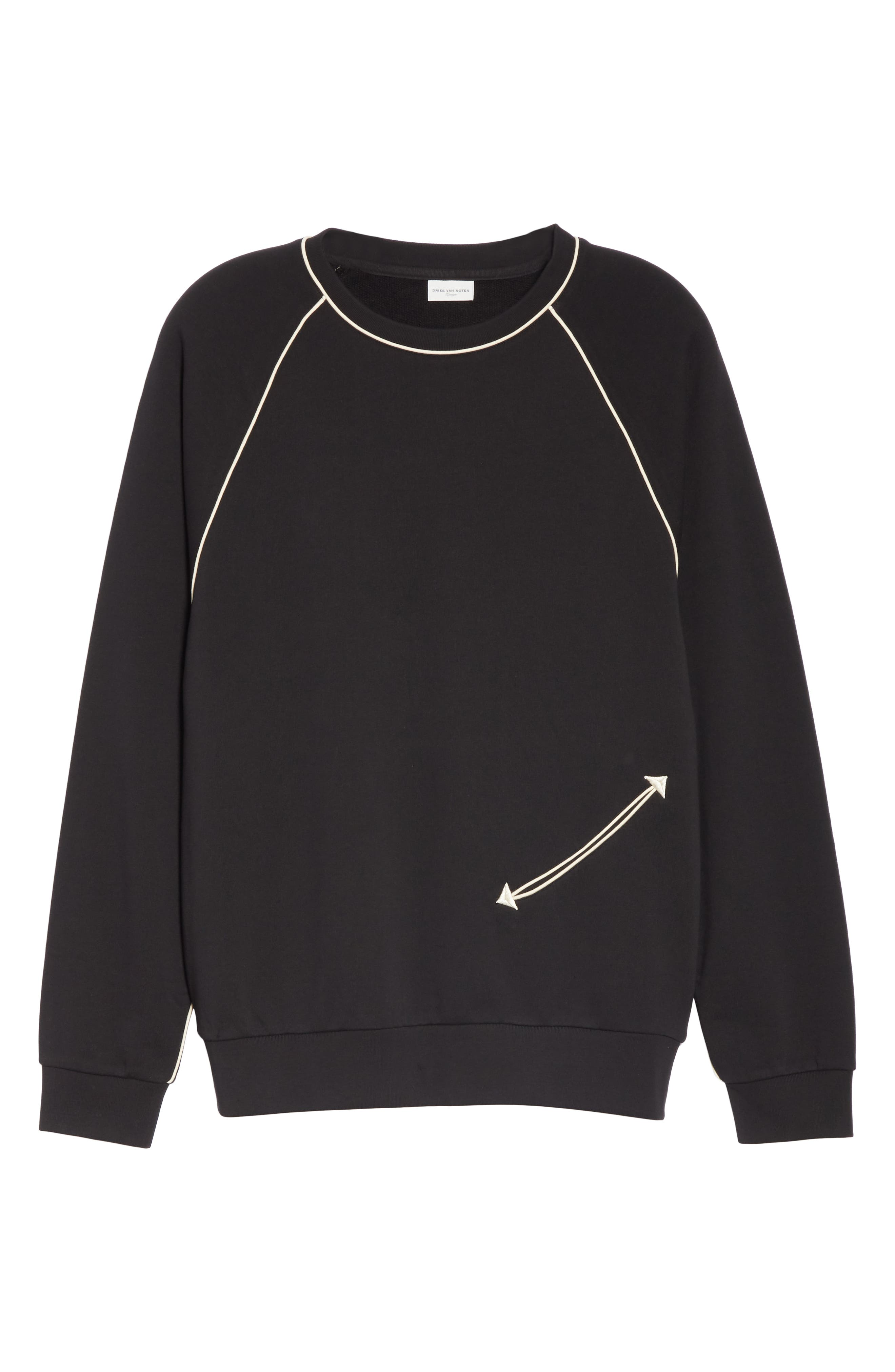 Western Piped Sweatshirt,                             Alternate thumbnail 6, color,                             900 BLACK