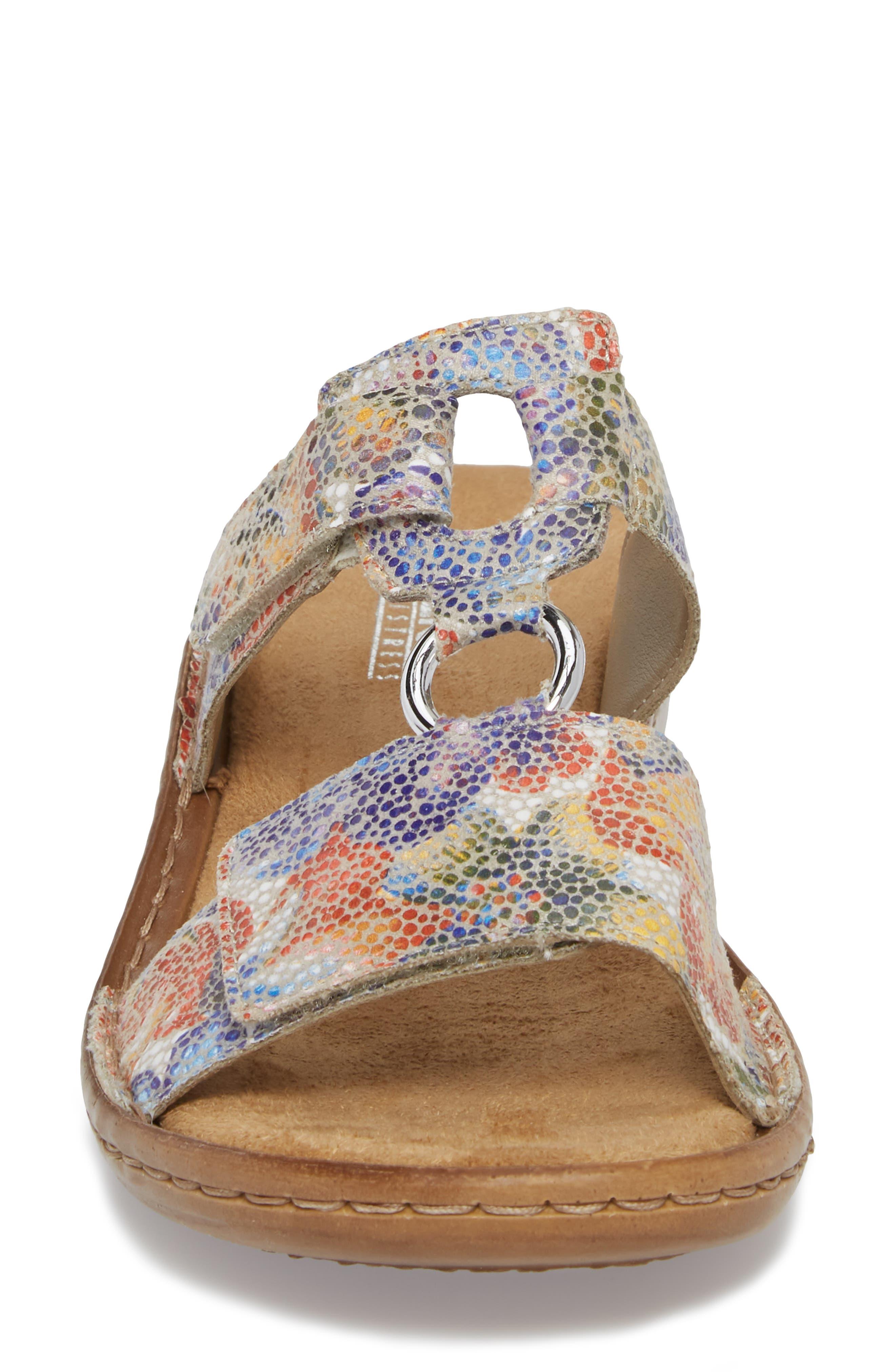 Regina P9 Slide Sandal,                             Alternate thumbnail 4, color,                             WHITE MULTI FABRIC