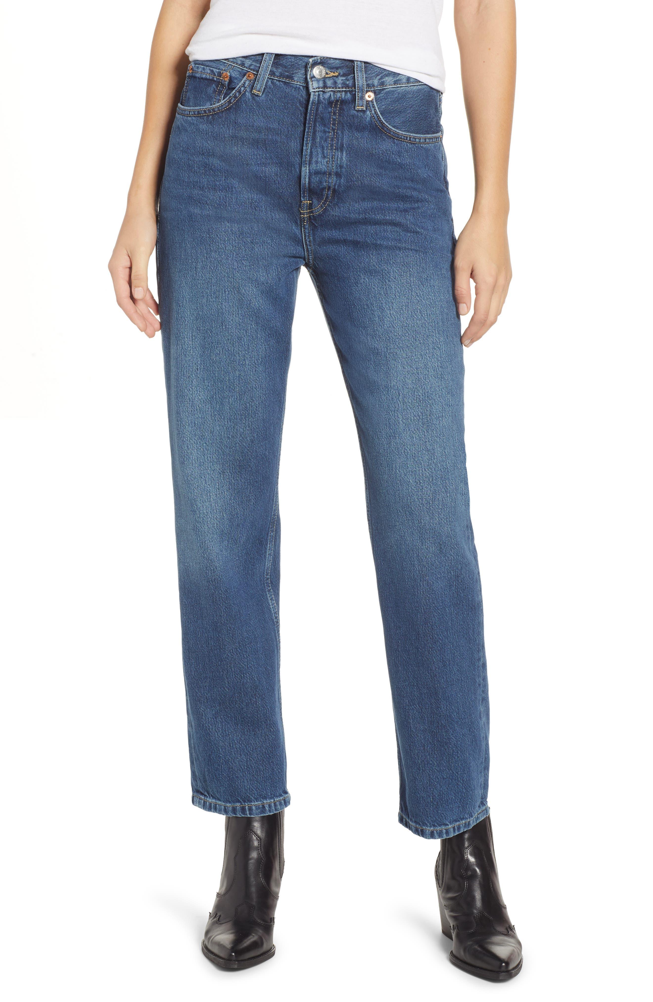 TOPSHOP,                             New Boyfriend Jeans,                             Main thumbnail 1, color,                             MID BLUE