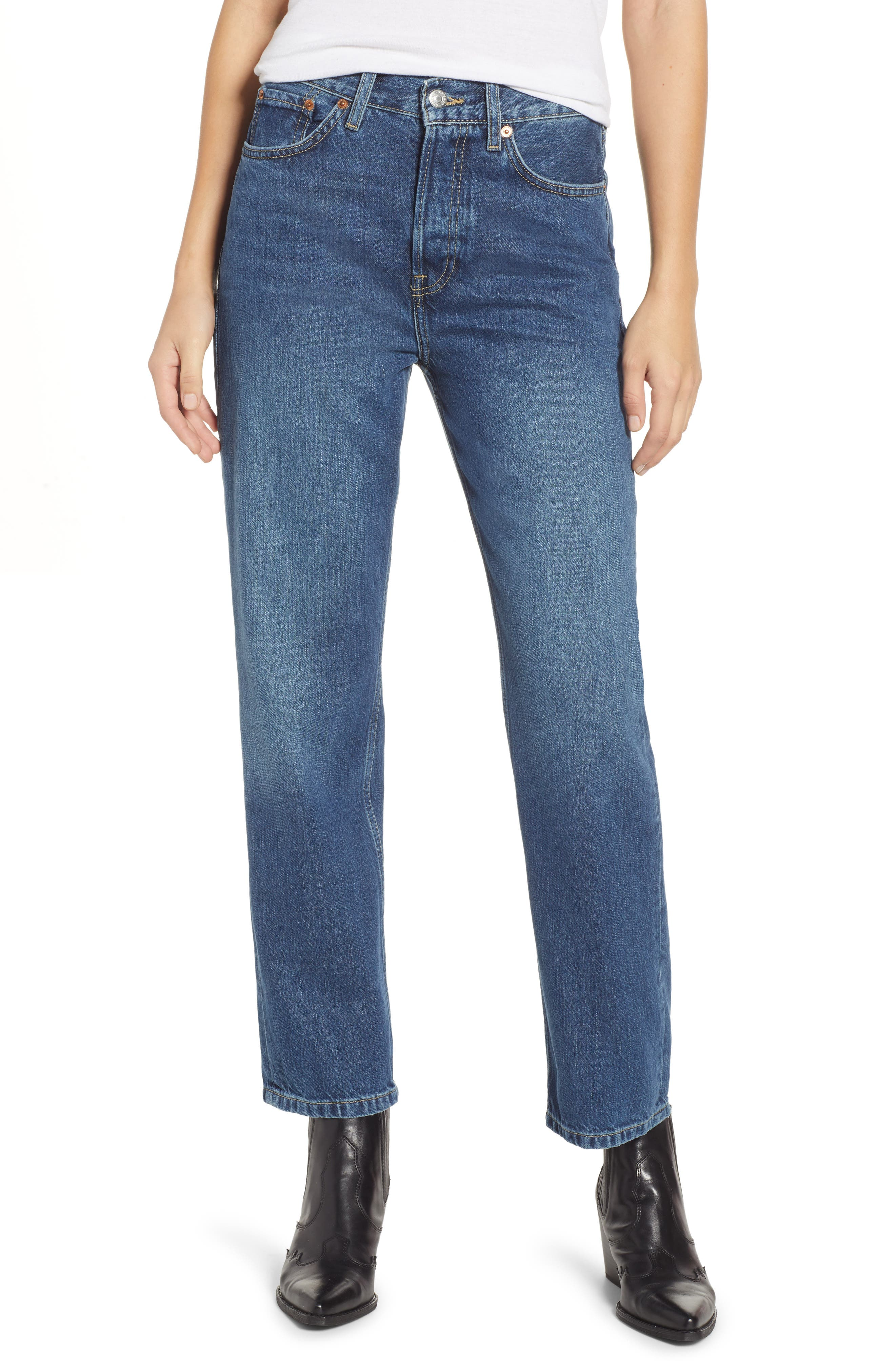 TOPSHOP New Boyfriend Jeans, Main, color, MID BLUE