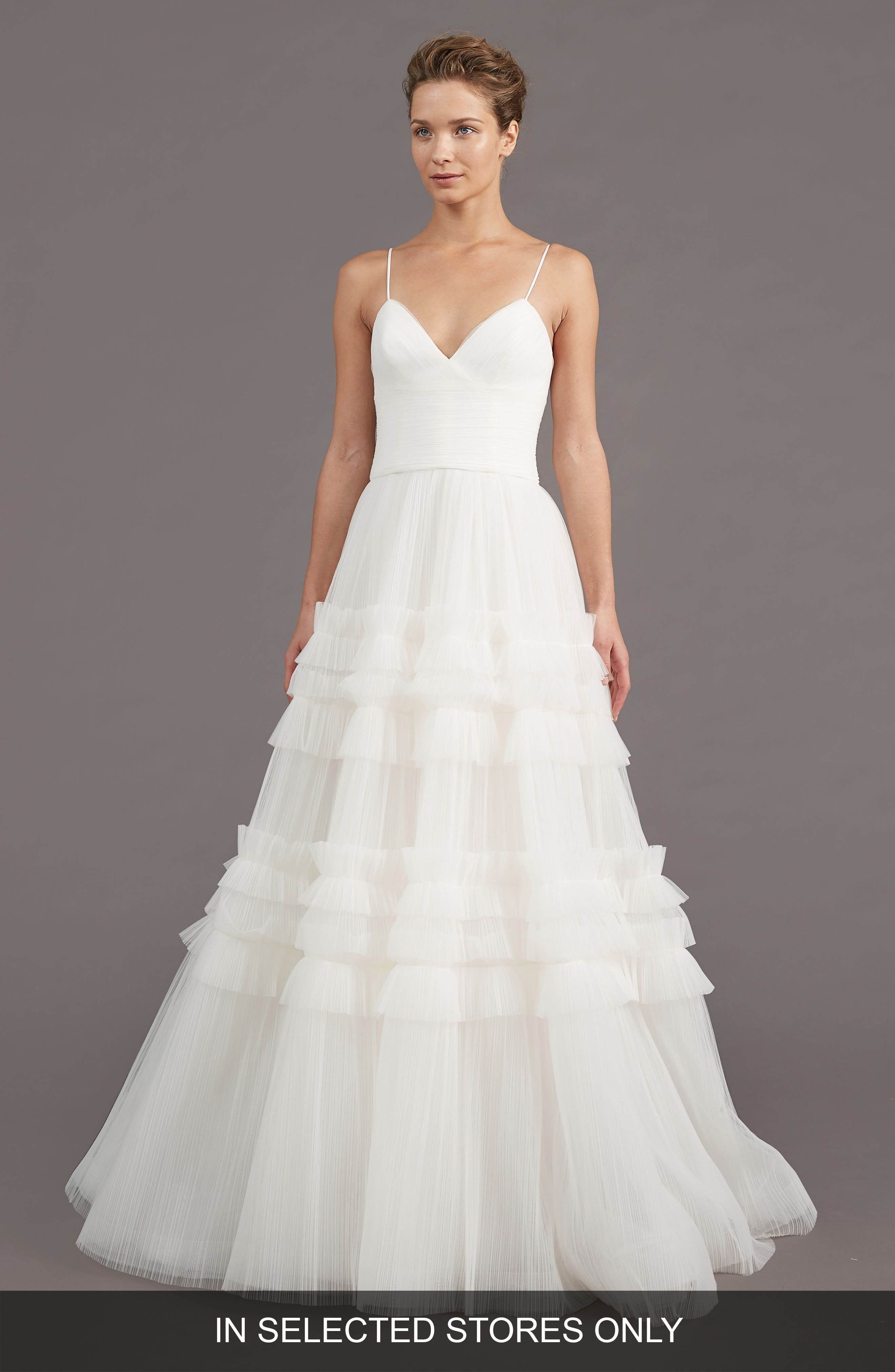 Saylor Ruffle A-Line Gown,                             Main thumbnail 1, color,                             IVORY