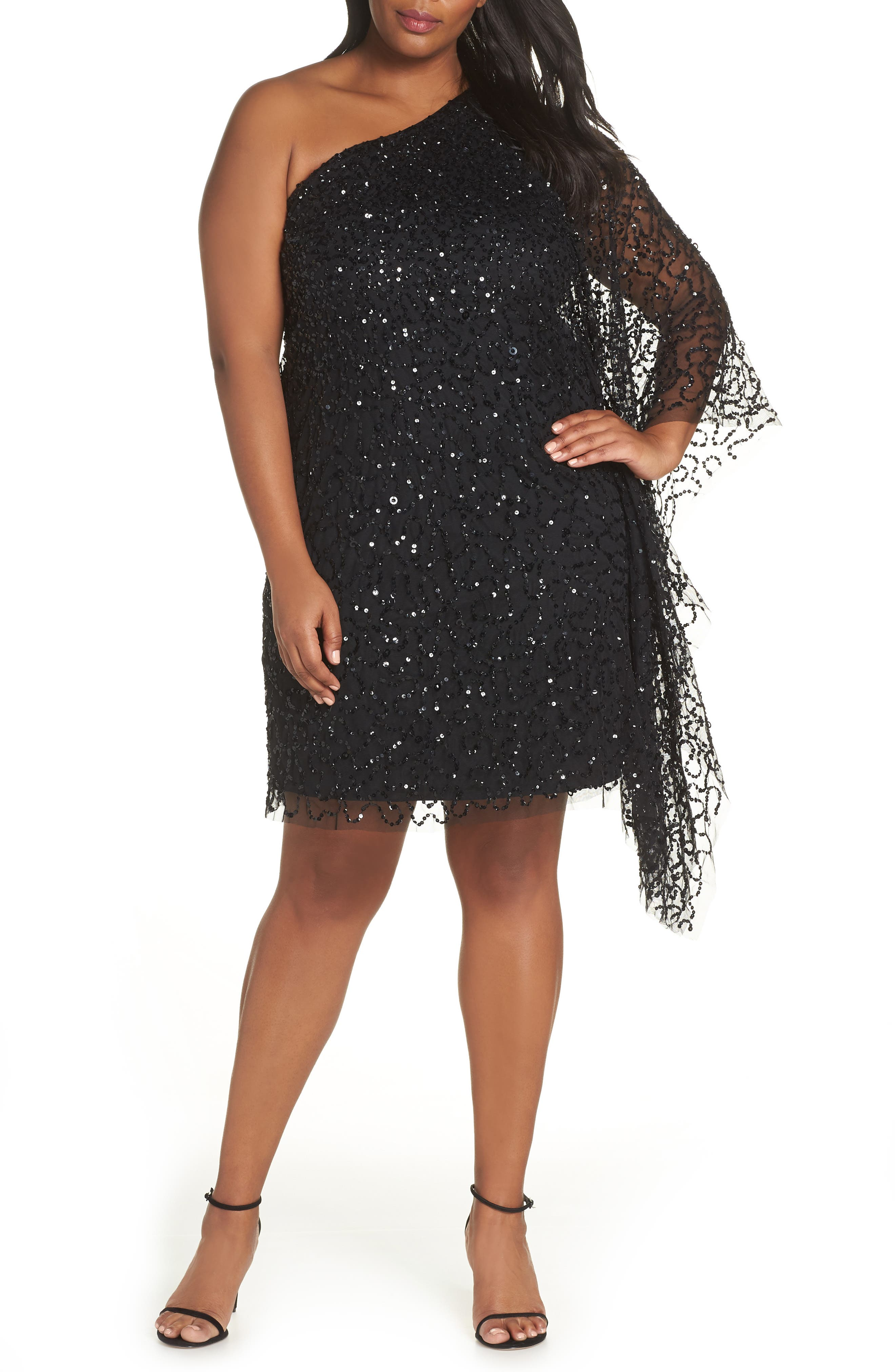 Plus Size Adrianna Papell Beaded One-Shoulder Sheath Dress, Black