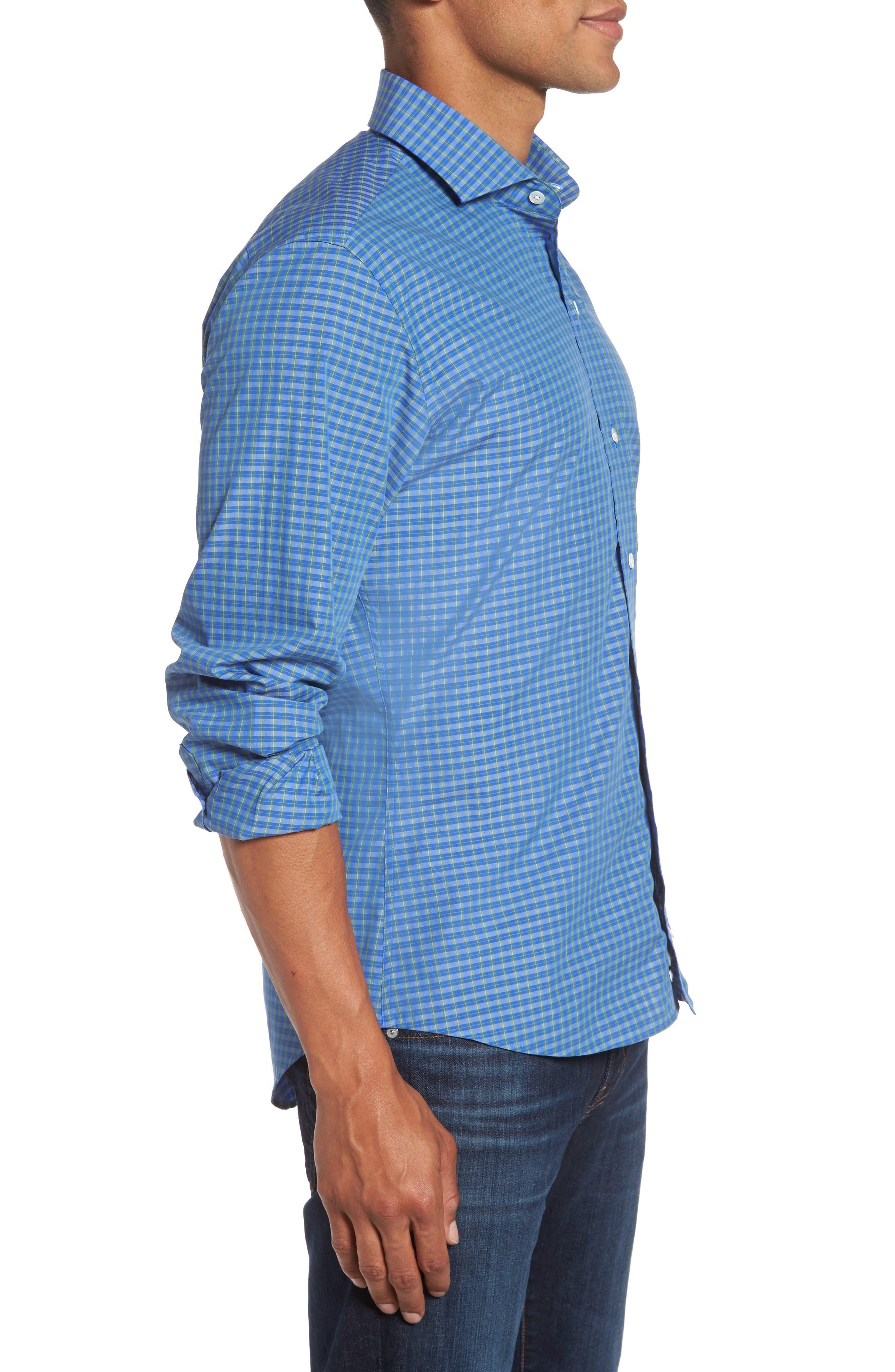 Alden Slim Fit Plaid Sport Shirt,                             Alternate thumbnail 3, color,                             306