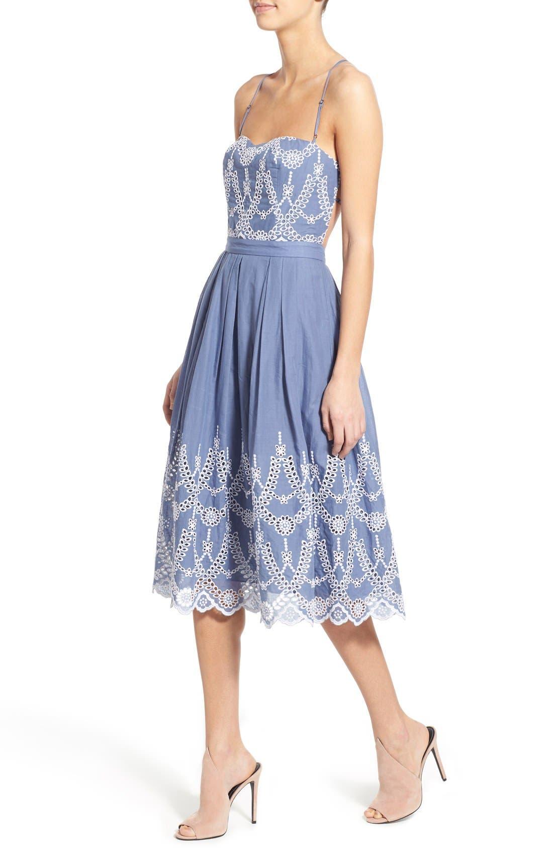 Cotton Eyelet Halter Dress,                             Alternate thumbnail 2, color,                             403
