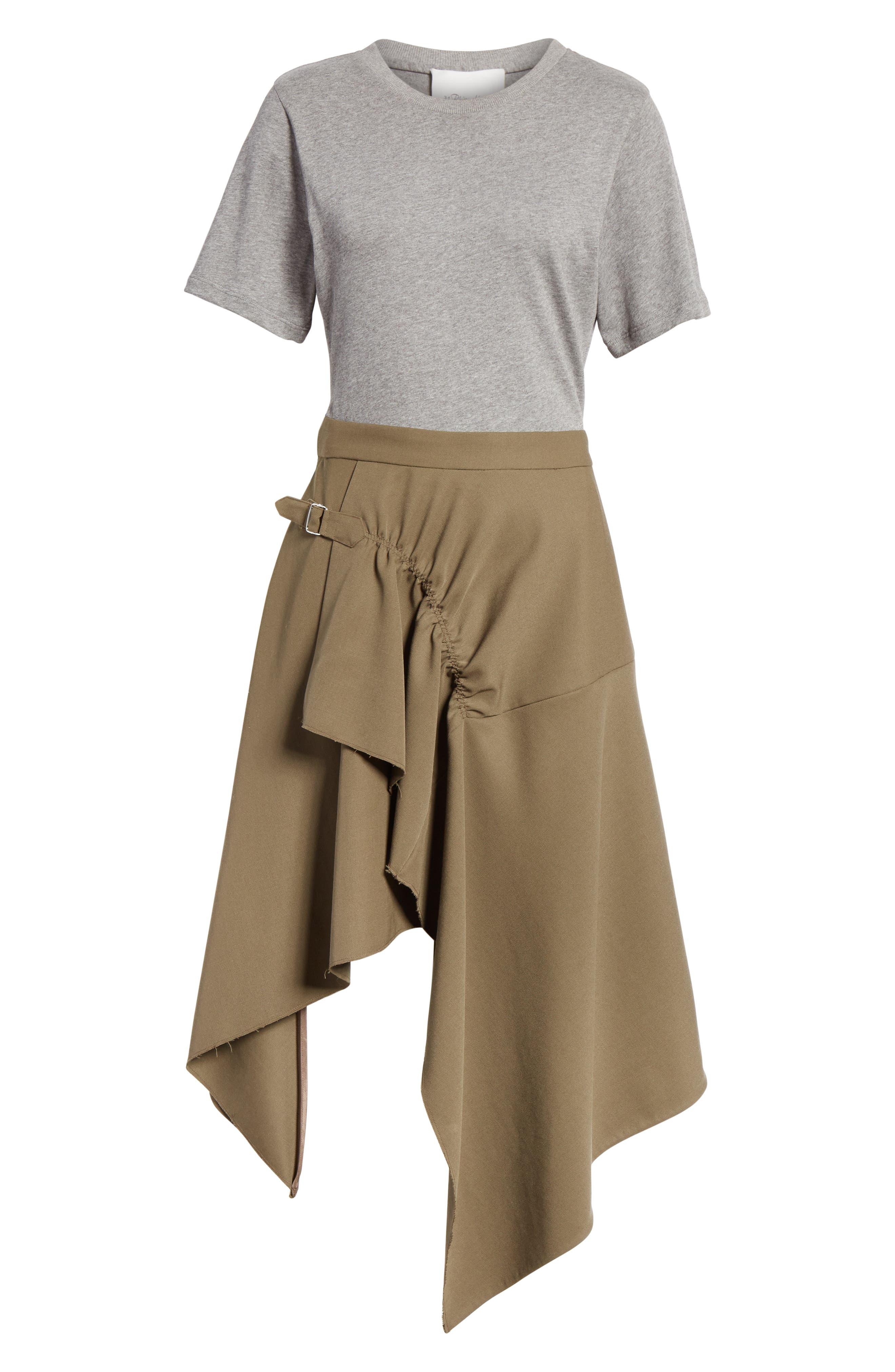 Mixed Media Wool & Cotton T-Shirt Dress,                             Alternate thumbnail 6, color,                             FIR GREEN