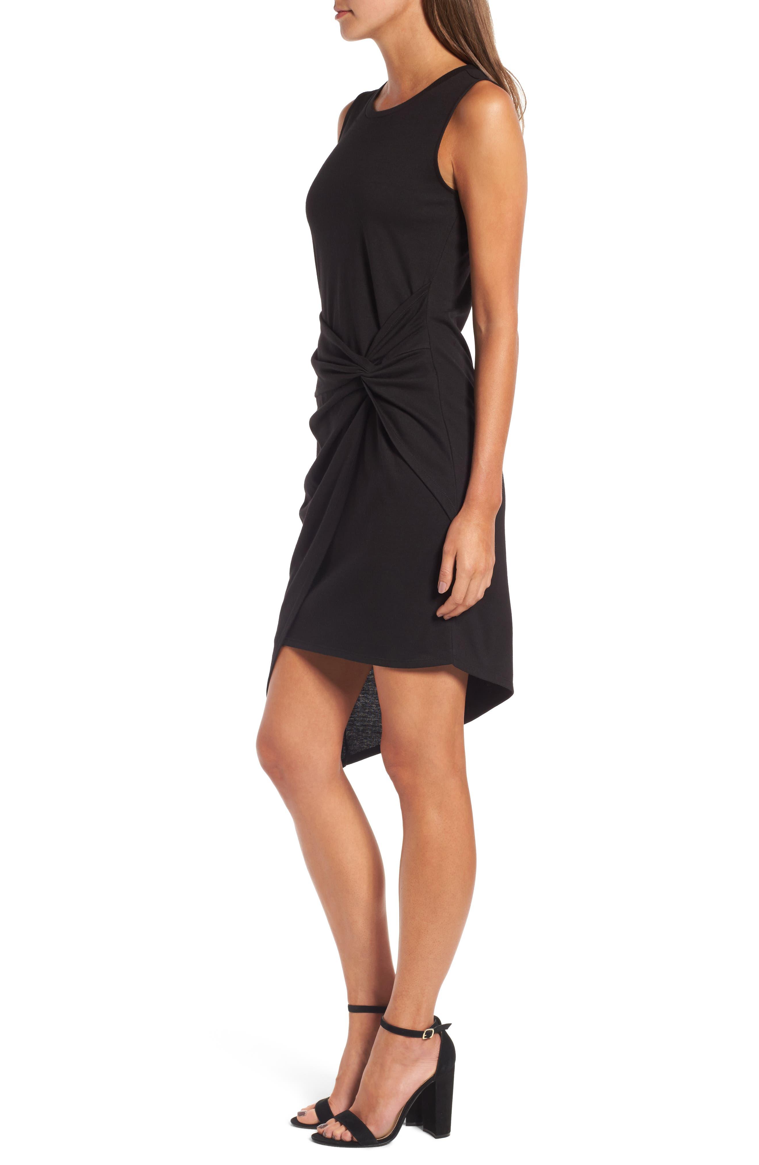 Twist Front Dress,                             Alternate thumbnail 3, color,                             BLACK