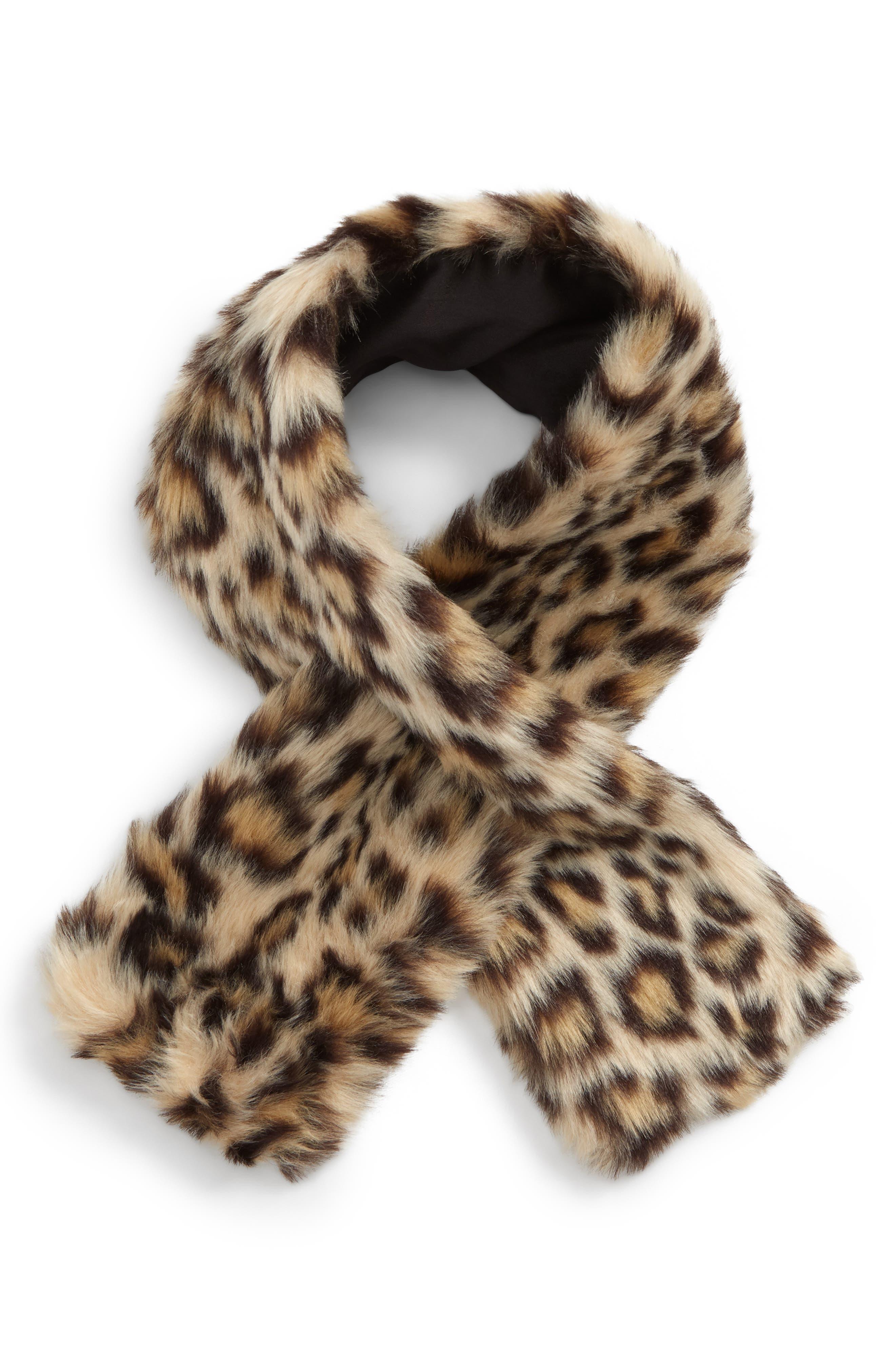 Girls Crewcuts By Jcrew Leopard Faux Fur Scarf