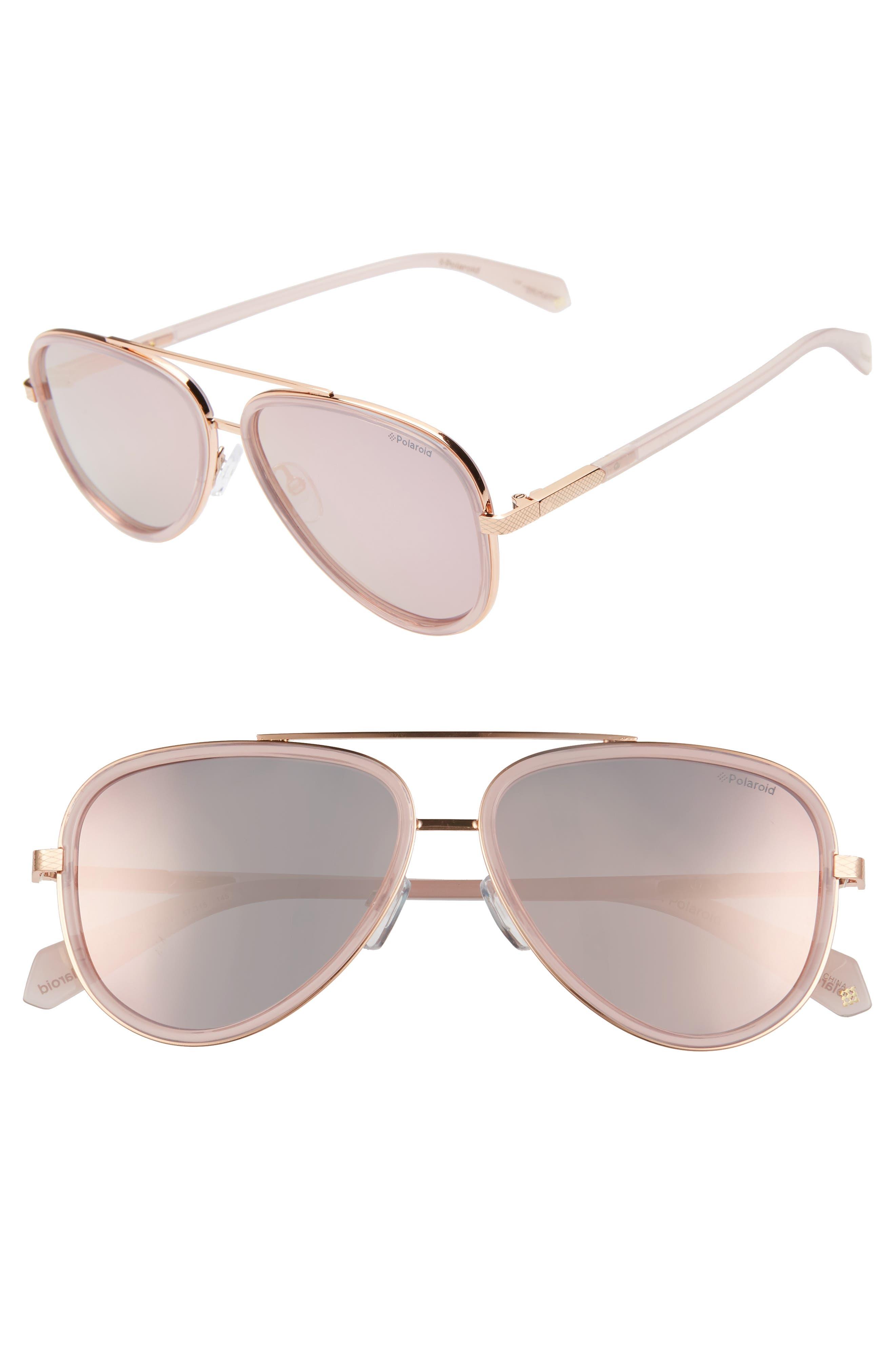 Polaroid 60Mm Polarized Round Aviator Sunglasses - Gold/ Pink
