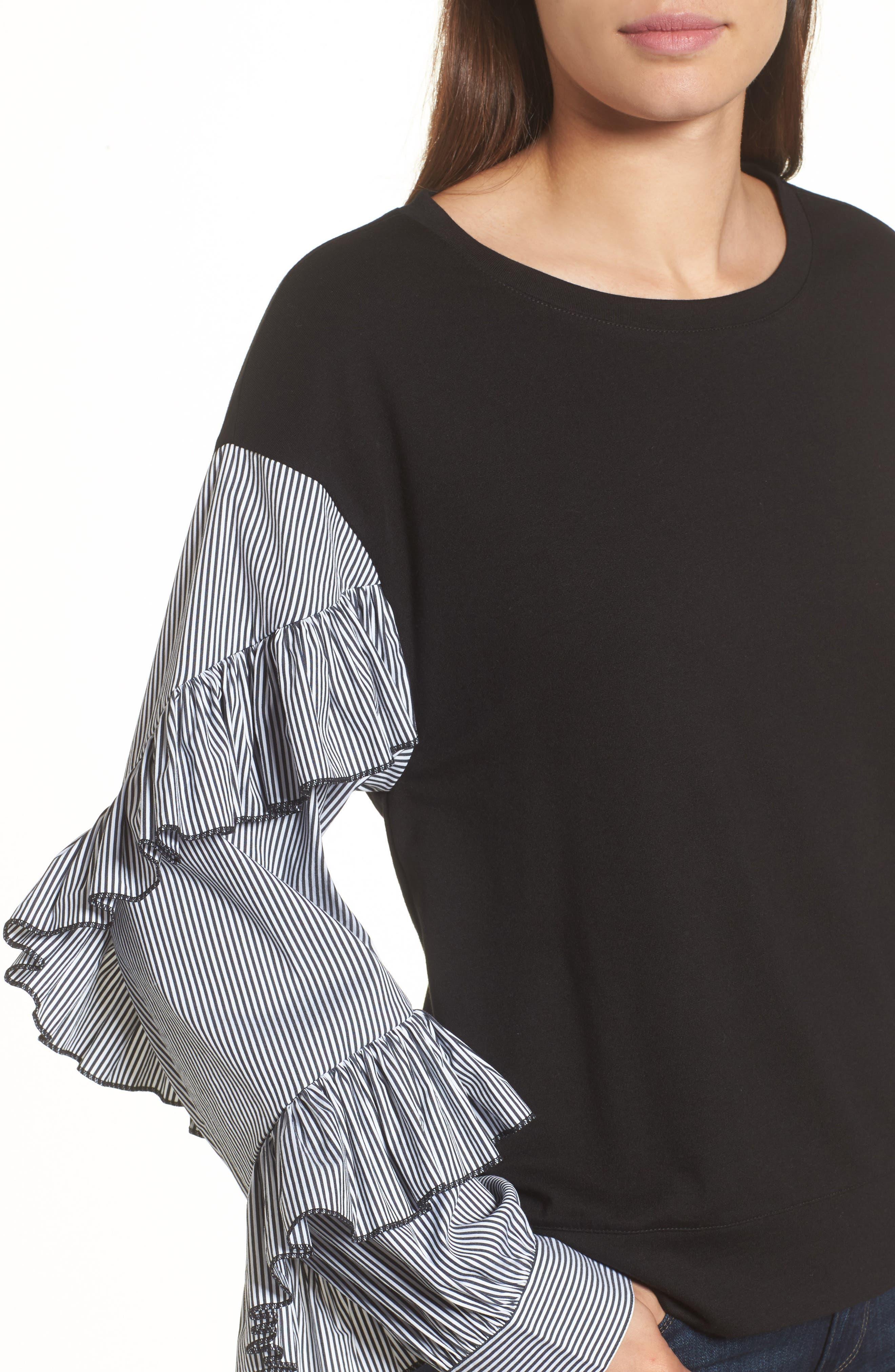 Poplin Ruffle Sleeve Sweatshirt,                             Alternate thumbnail 4, color,                             001