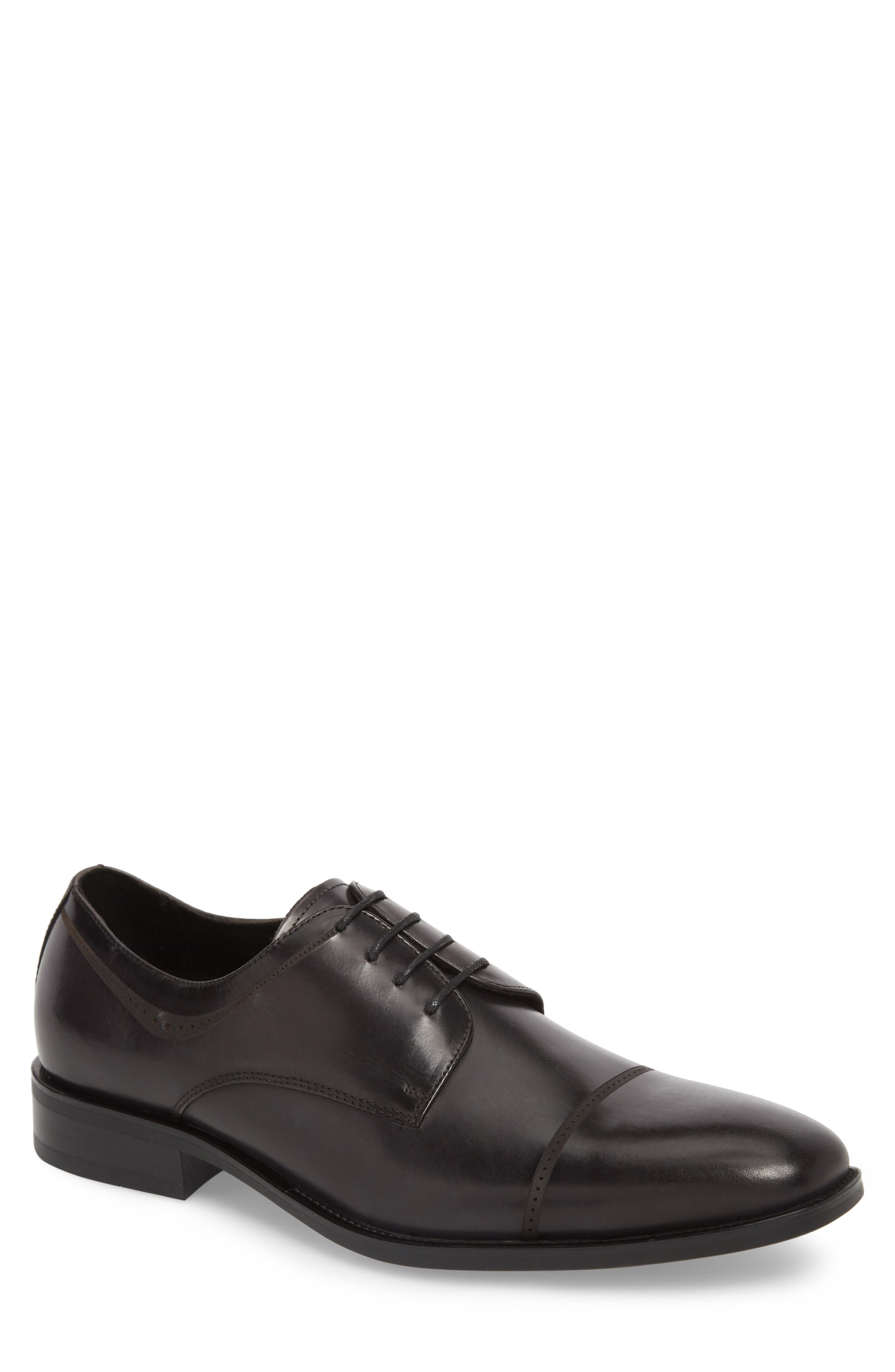 Leisure Time Cap Toe Derby,                             Main thumbnail 1, color,                             DARK GREY LEATHER