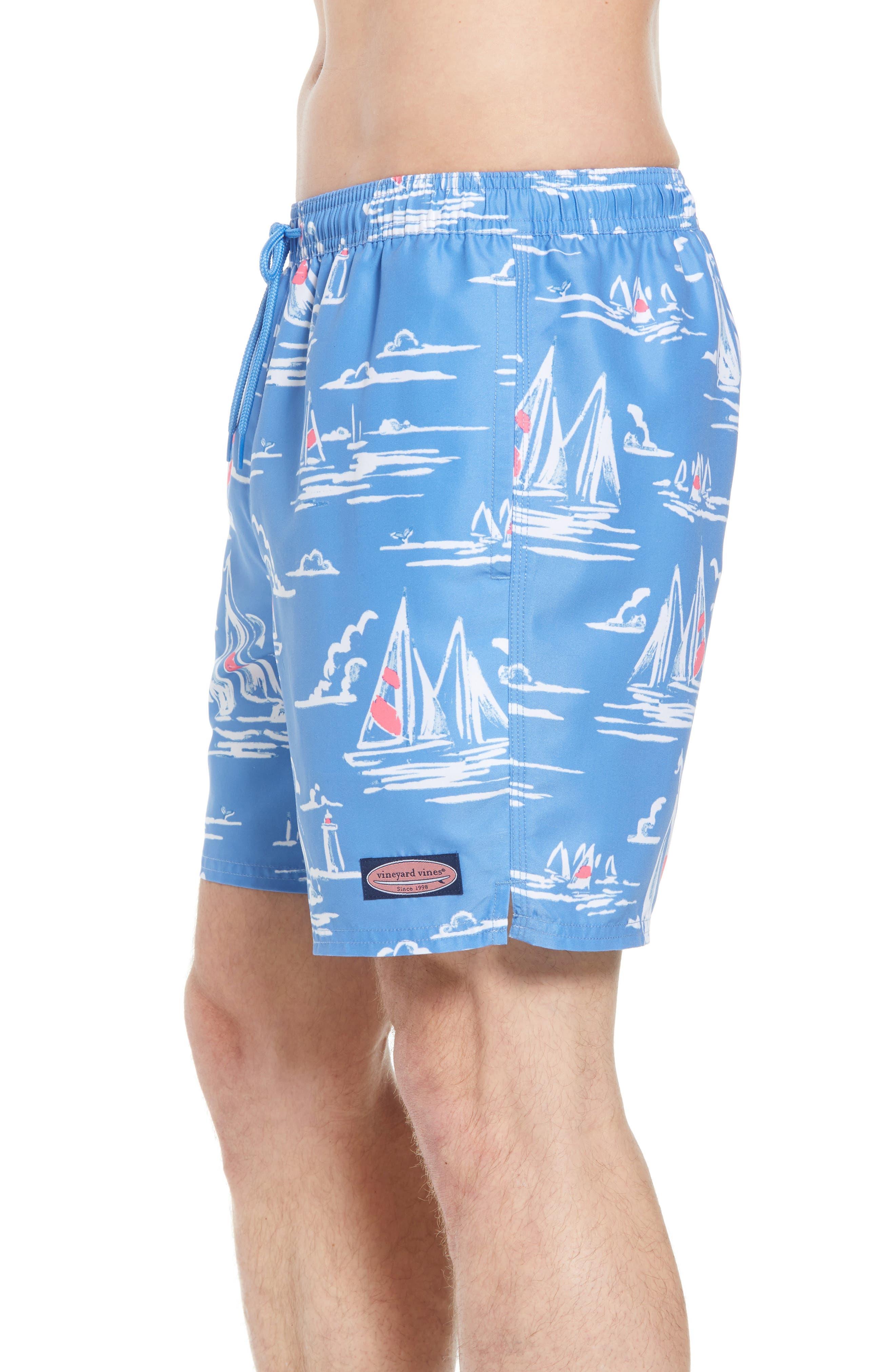 Chappy Sailing Scene Swim Trunks,                             Alternate thumbnail 3, color,                             CORNFLOWER