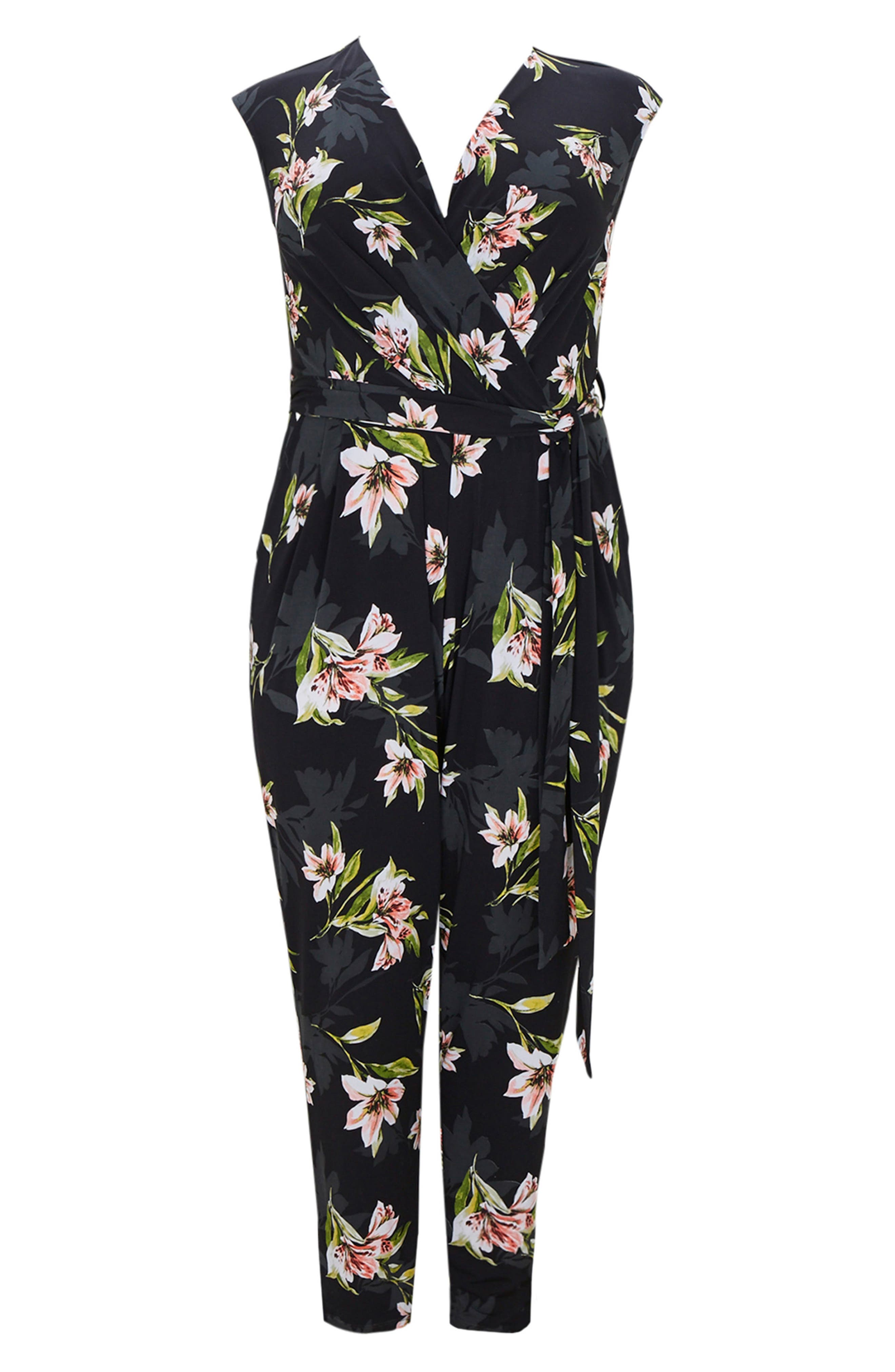 Floral Print Wrap Jumpsuit,                             Alternate thumbnail 5, color,                             006
