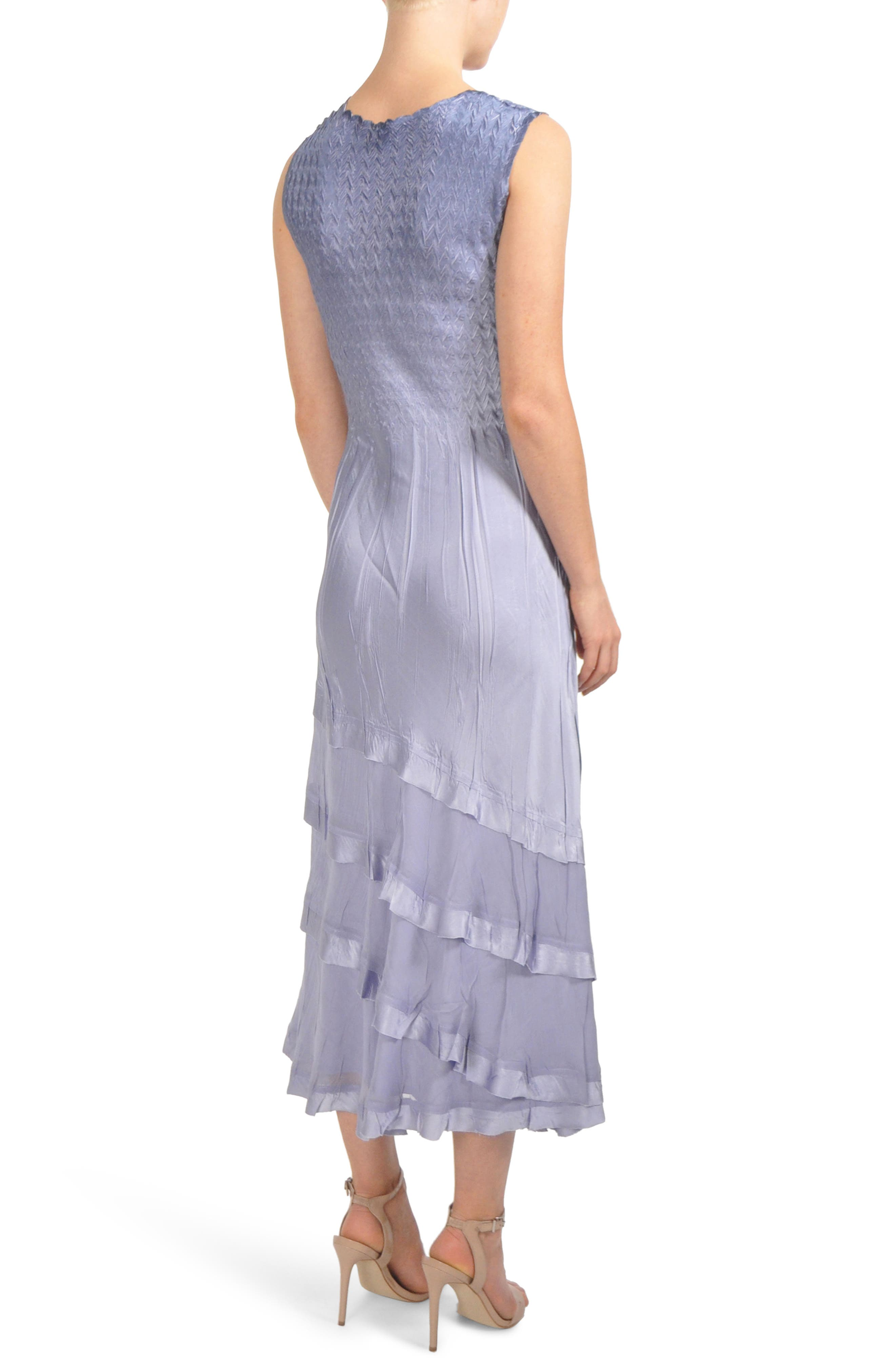 Charmeuse & Chiffon Tiered Hem Dress with Jacket,                             Alternate thumbnail 2, color,                             LAVENDER GREY BLUE OMBRE