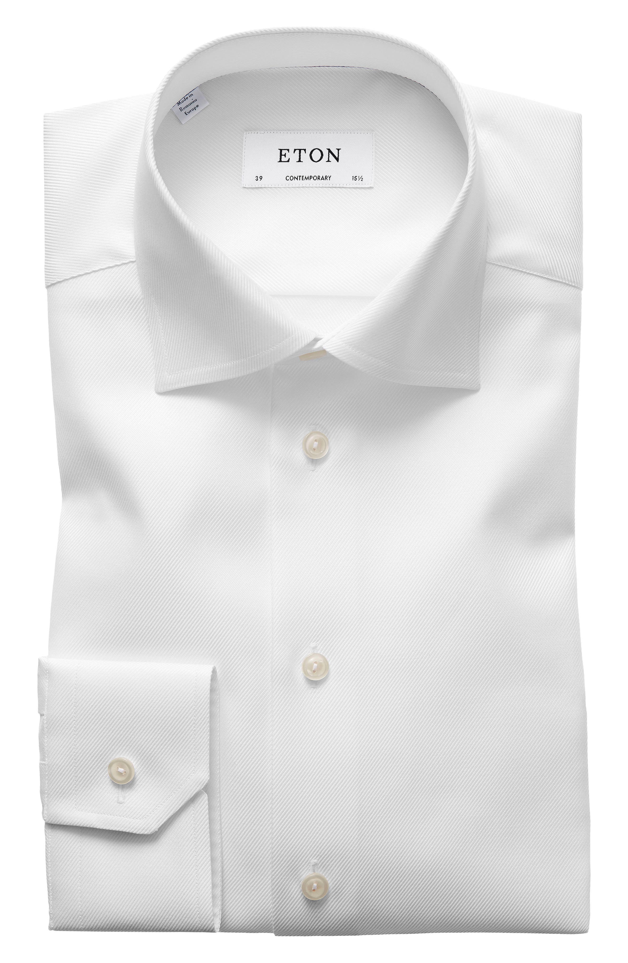 Contemporary Fit Cavalry Twill Dress Shirt,                             Main thumbnail 1, color,                             WHITE