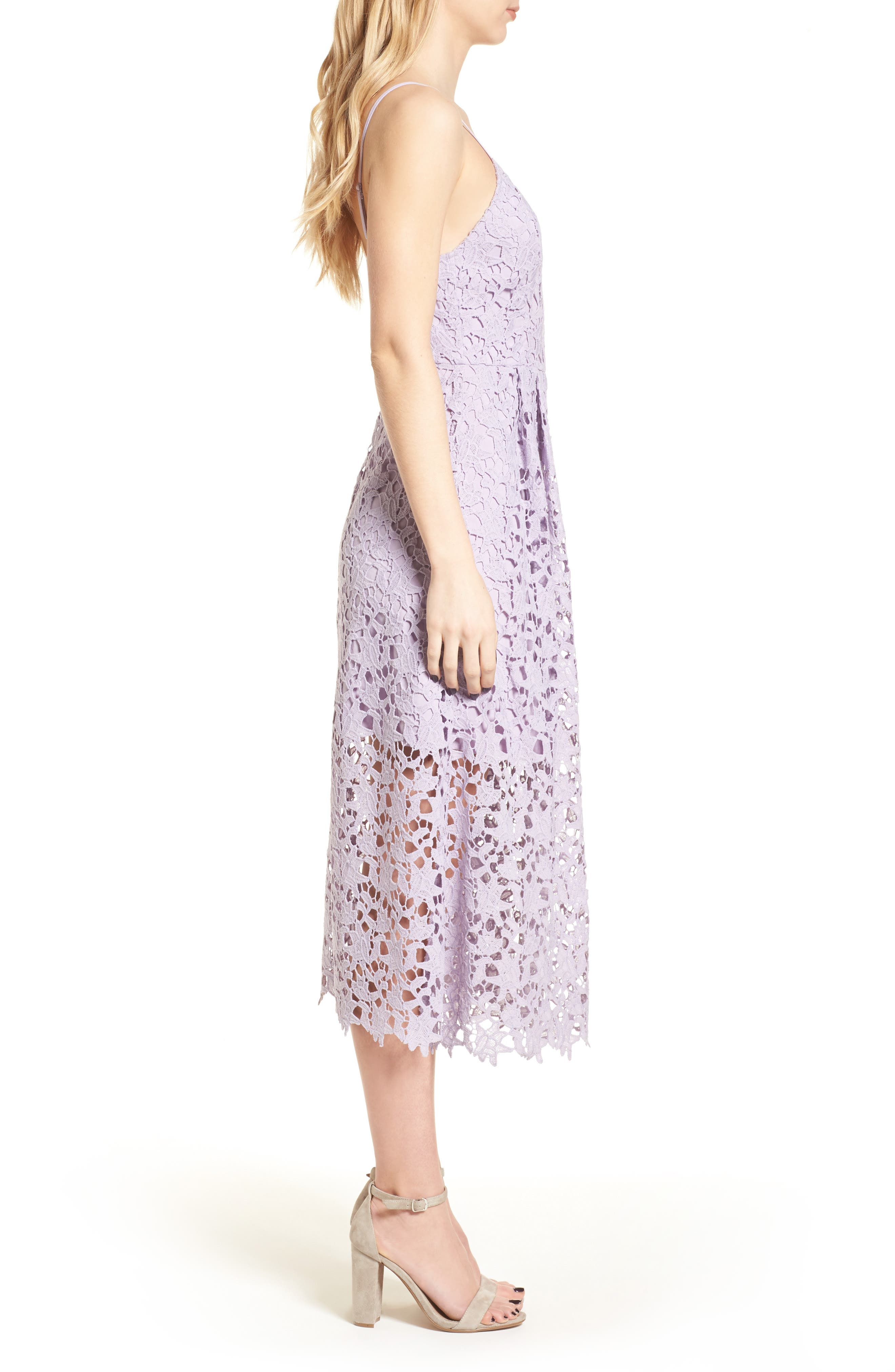 ASTR THE LABEL,                             Lace Midi Dress,                             Alternate thumbnail 3, color,                             LILAC
