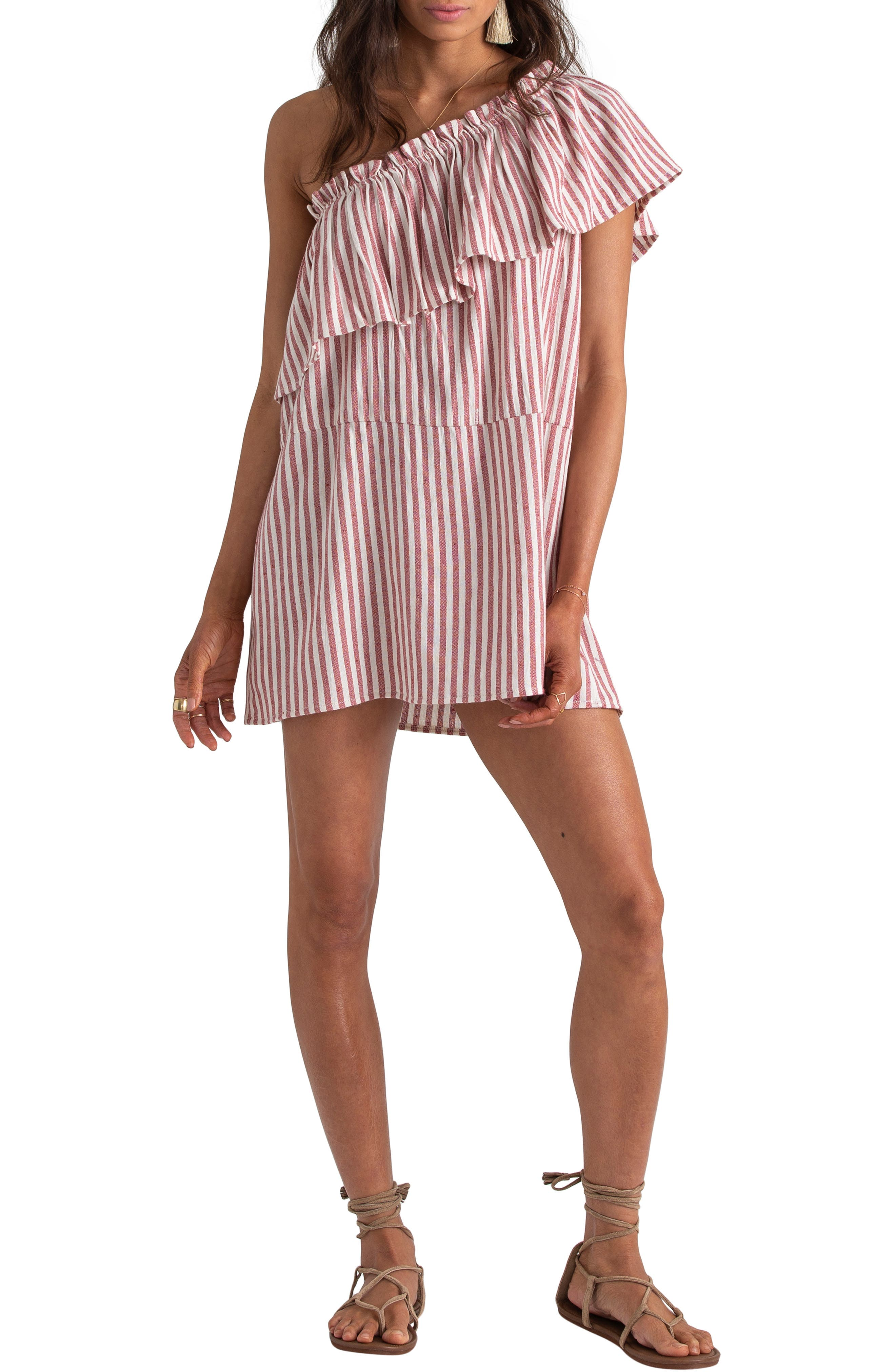 Billabong X Sincerely Jules Right Minded One-Shoulder Dress, Coral