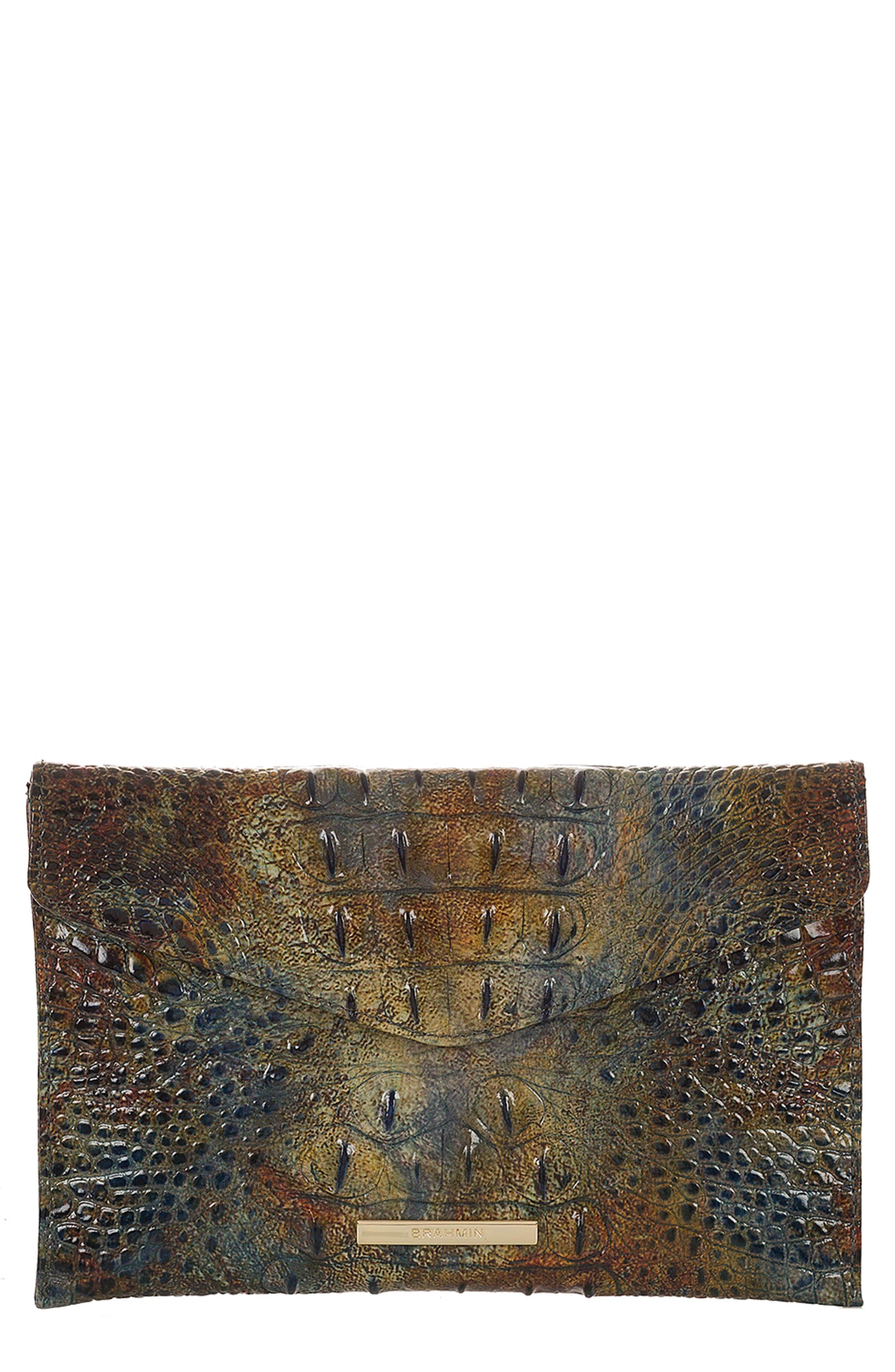 BRAHMIN,                             Melbourne Croc Embossed Leather Envelope Clutch,                             Main thumbnail 1, color,                             204