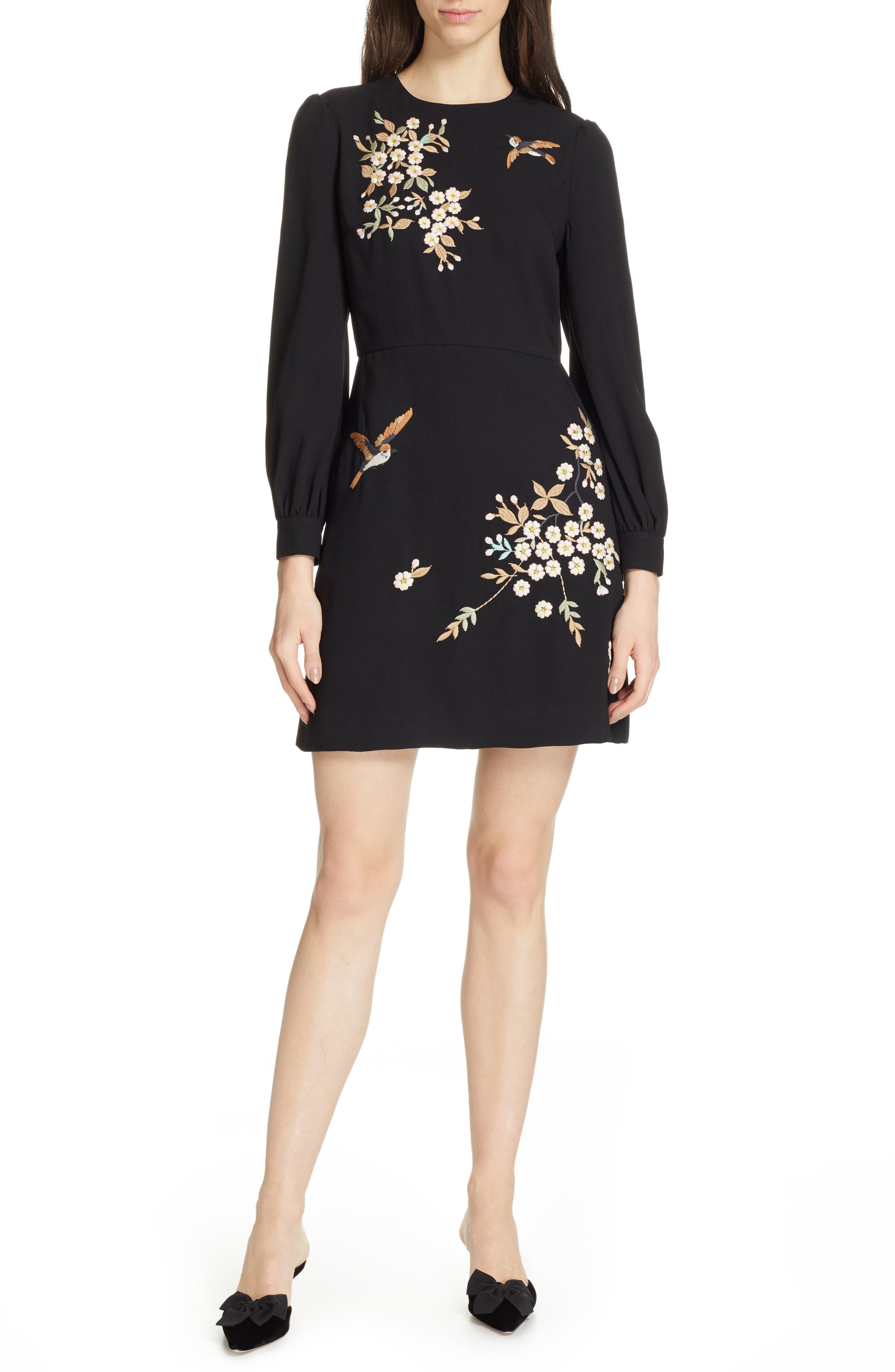 Lillien Graceful Embroidered Detail Dress, Main, color, BLACK