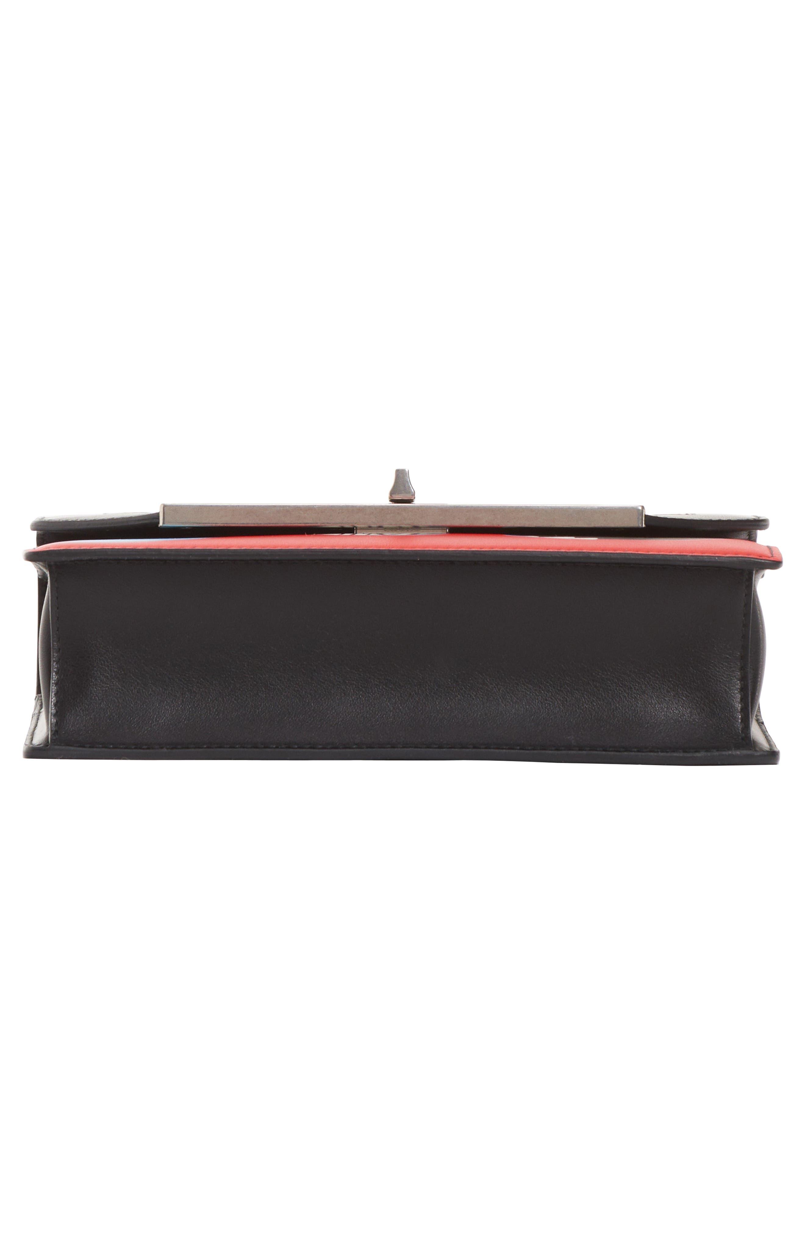Print Leather Shoulder Bag,                             Alternate thumbnail 5, color,                             NERO/ ROSSO