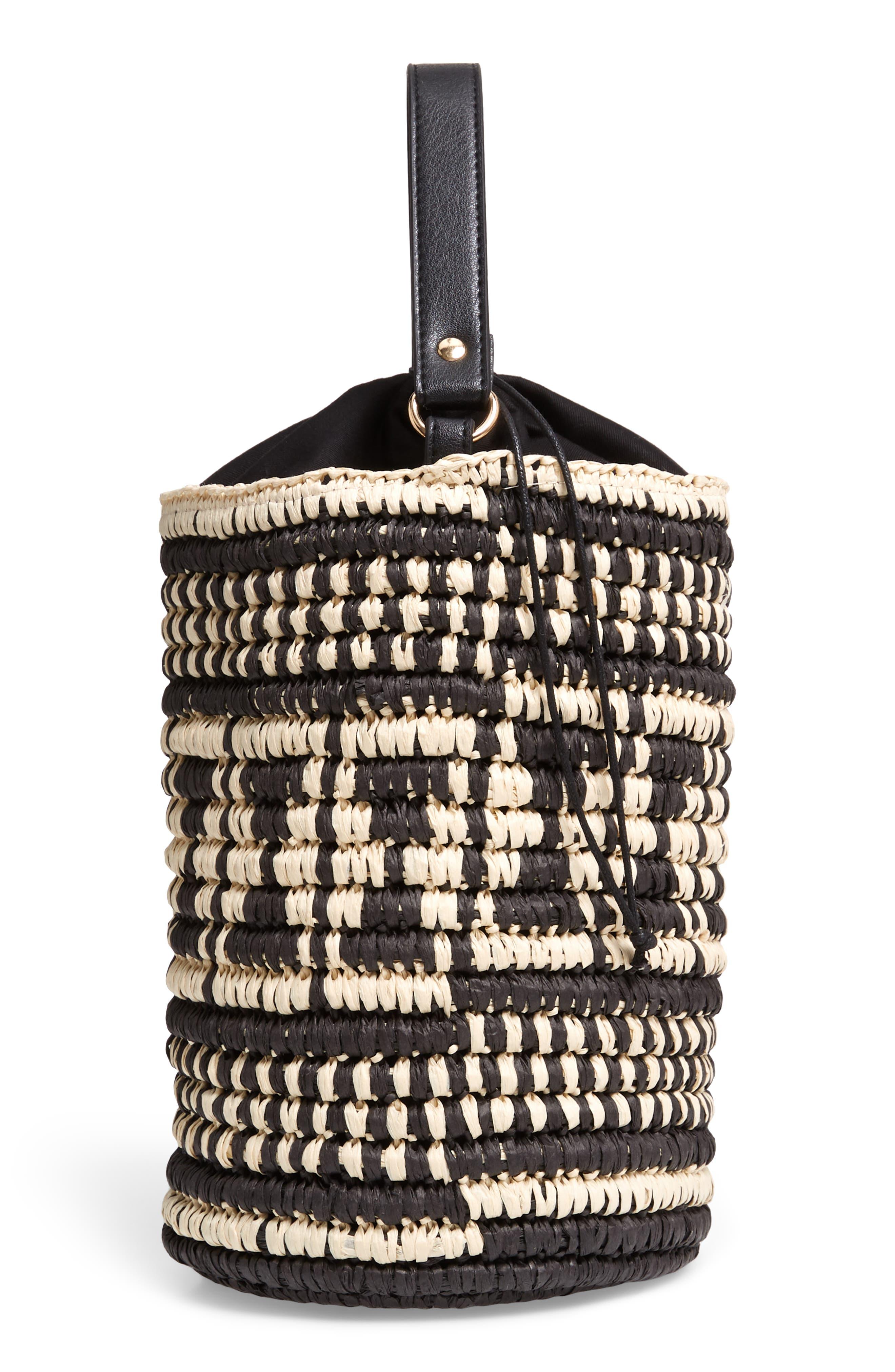 Talula Woven Raffia Bucket Bag,                             Alternate thumbnail 5, color,                             BLACK