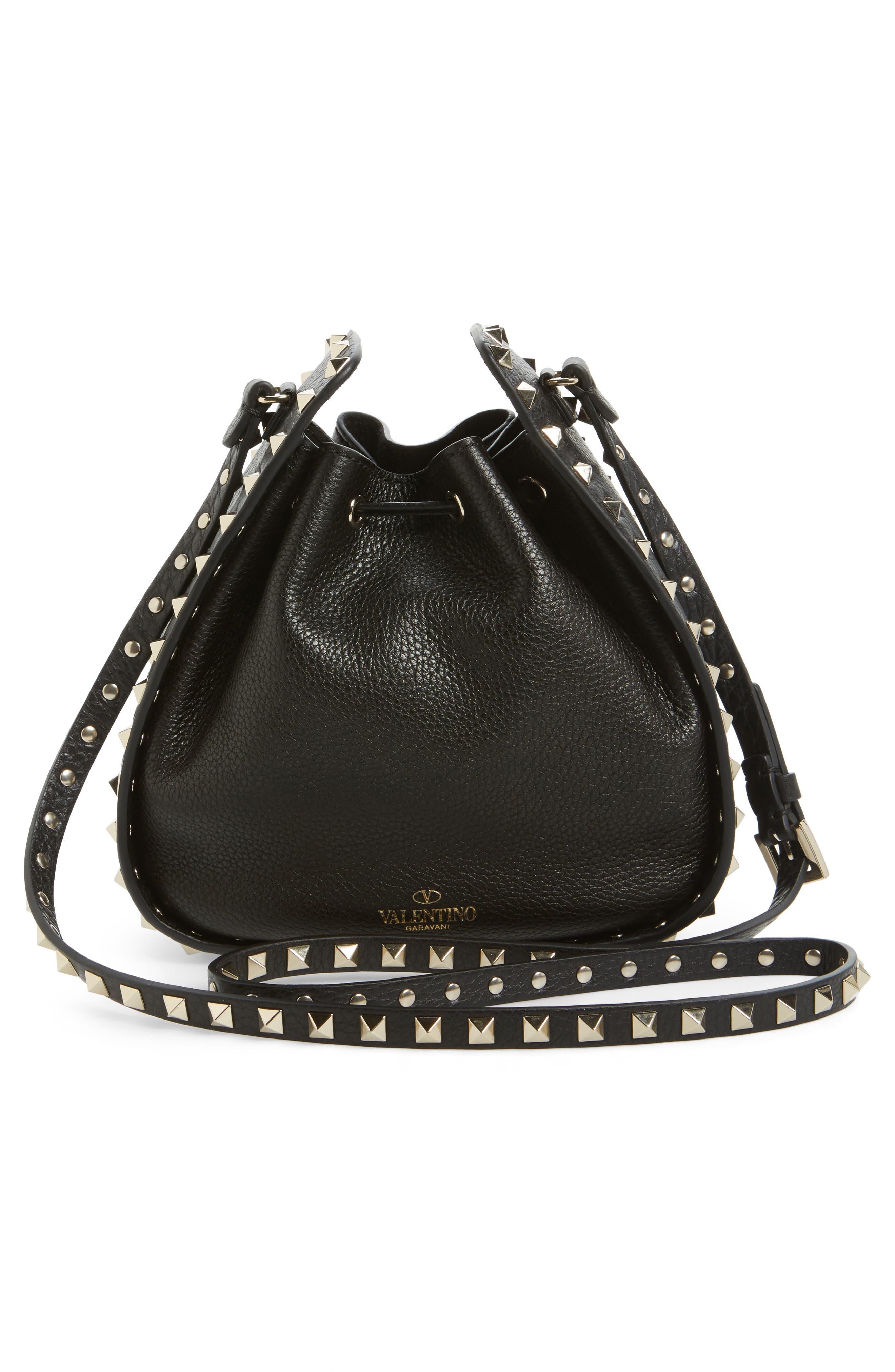 Rockstud Leather Bucket Bag,                             Alternate thumbnail 3, color,                             001