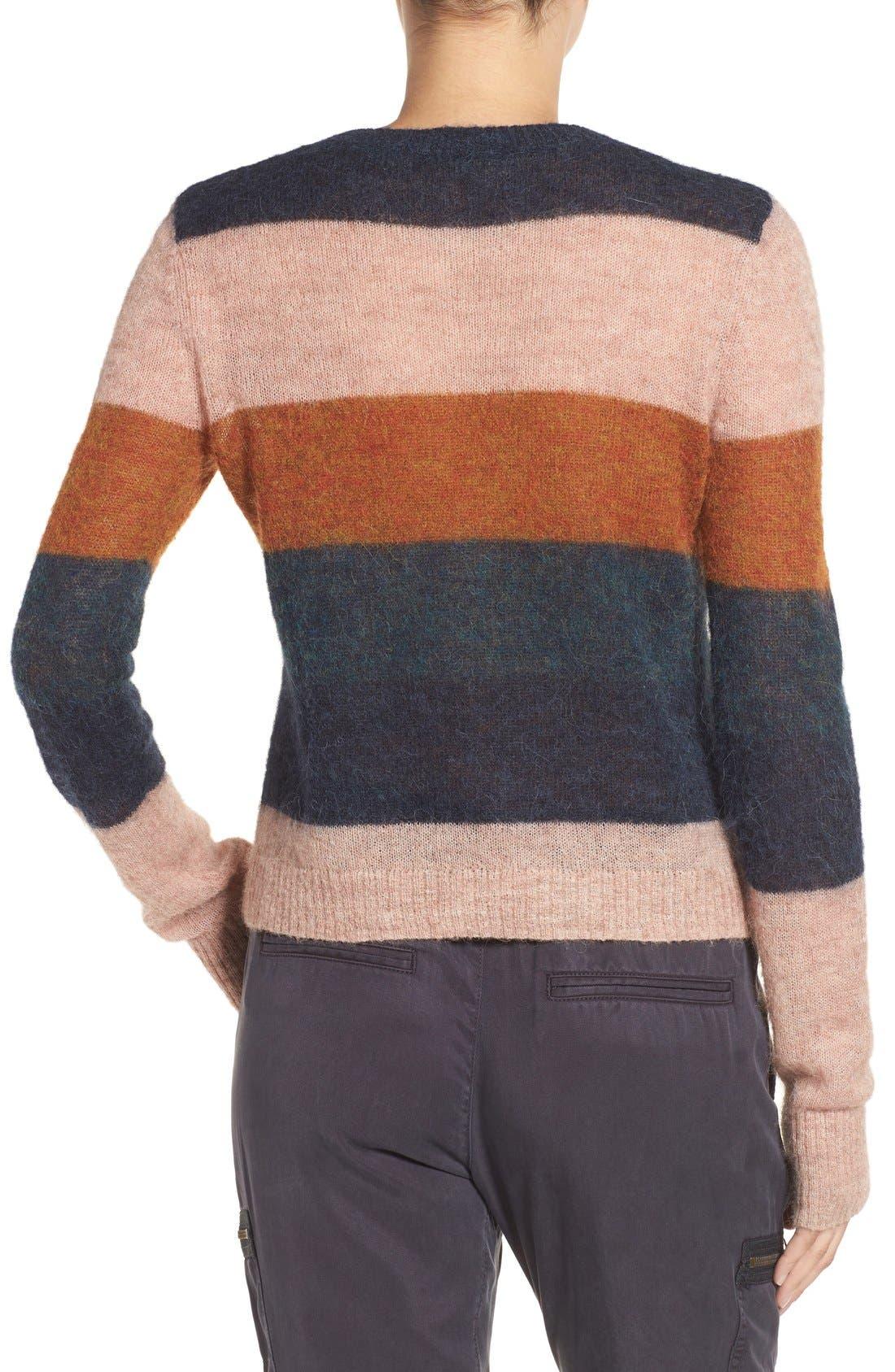 Stripe Alpaca Blend Sweater,                             Alternate thumbnail 4, color,