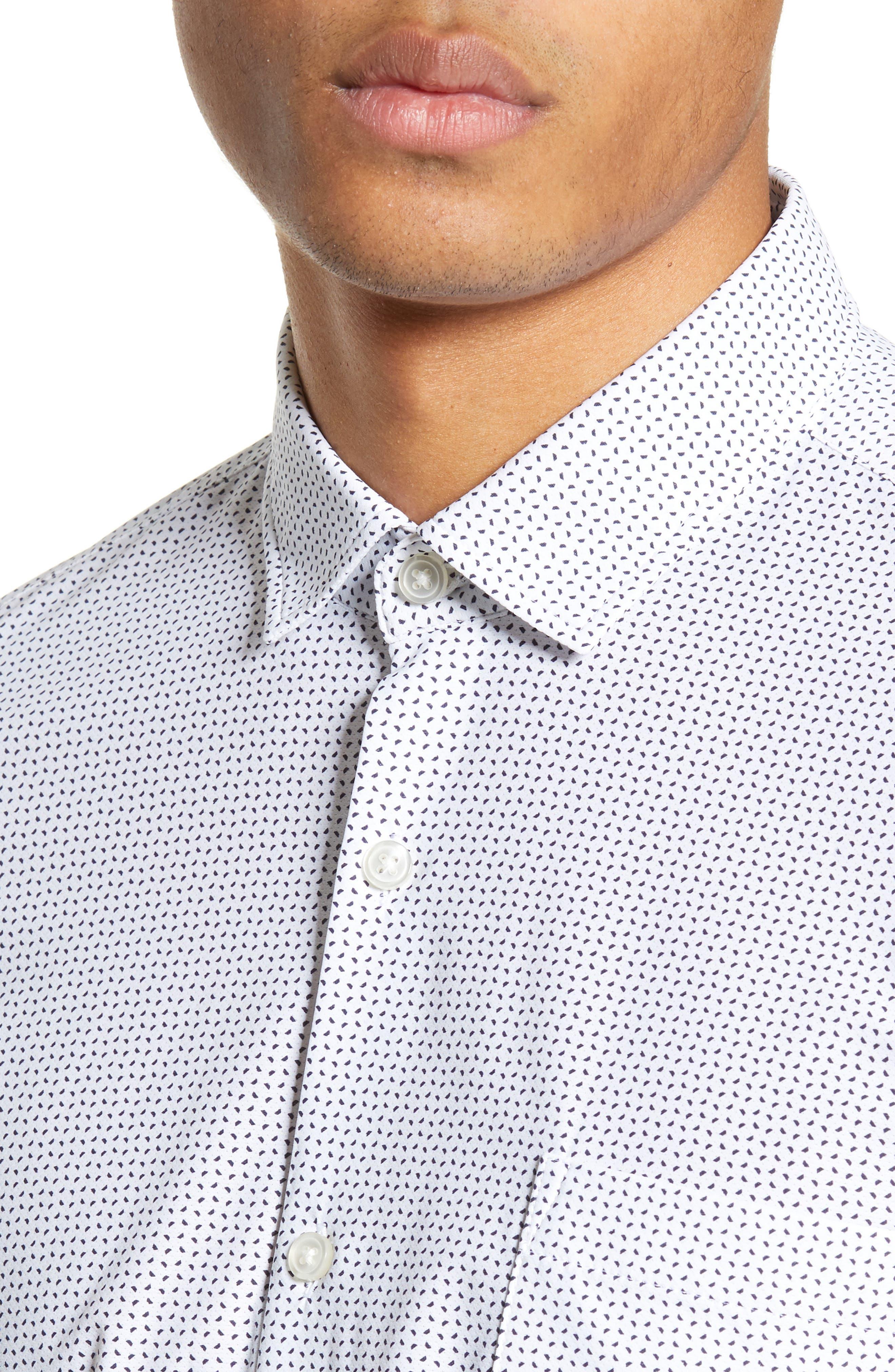 Rikki Slim Fit Microprint Sport Shirt,                             Alternate thumbnail 4, color,                             WHITE MICRO