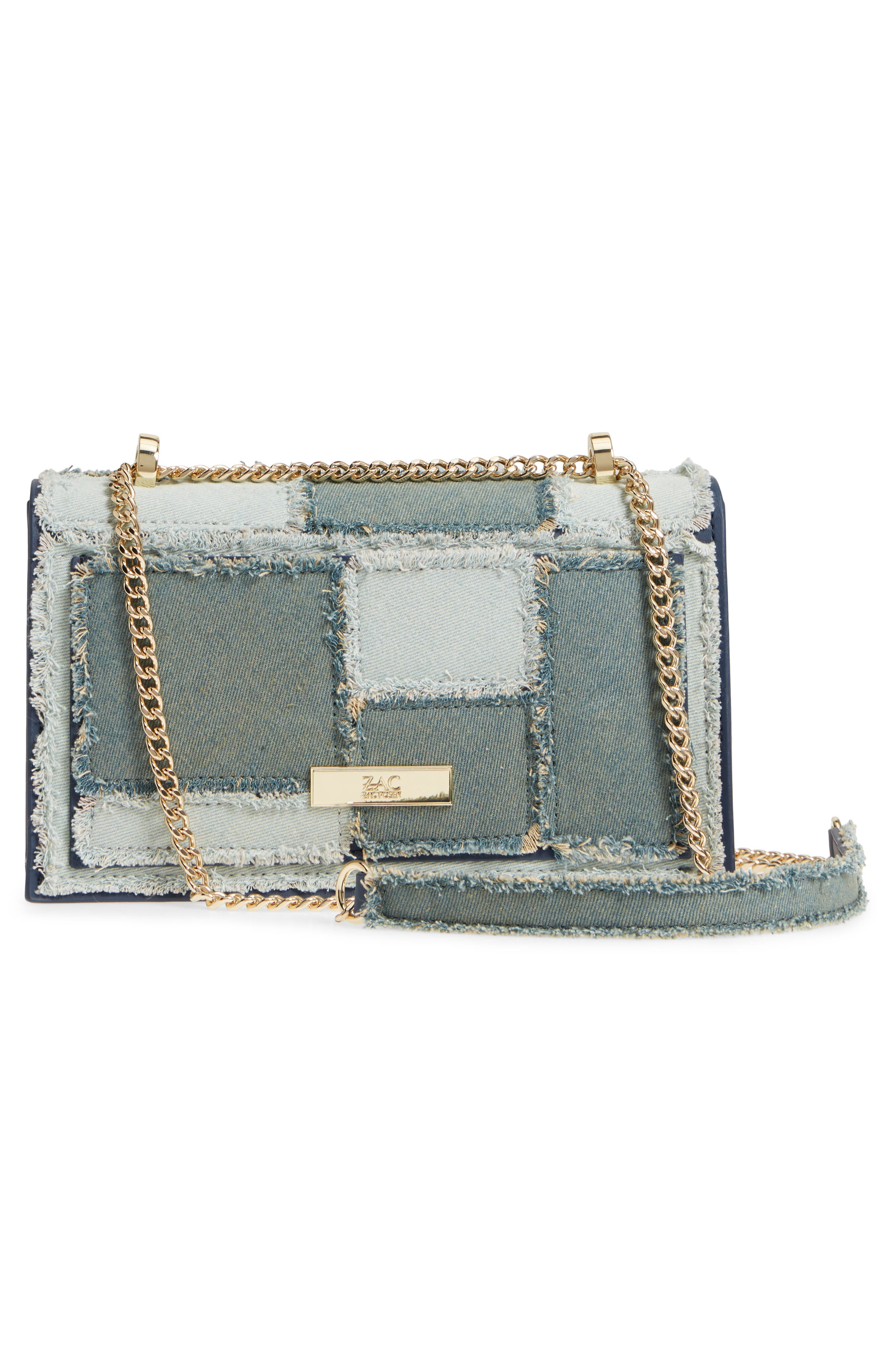 Earthette Patchwork Denim Accordion Bag,                             Alternate thumbnail 3, color,