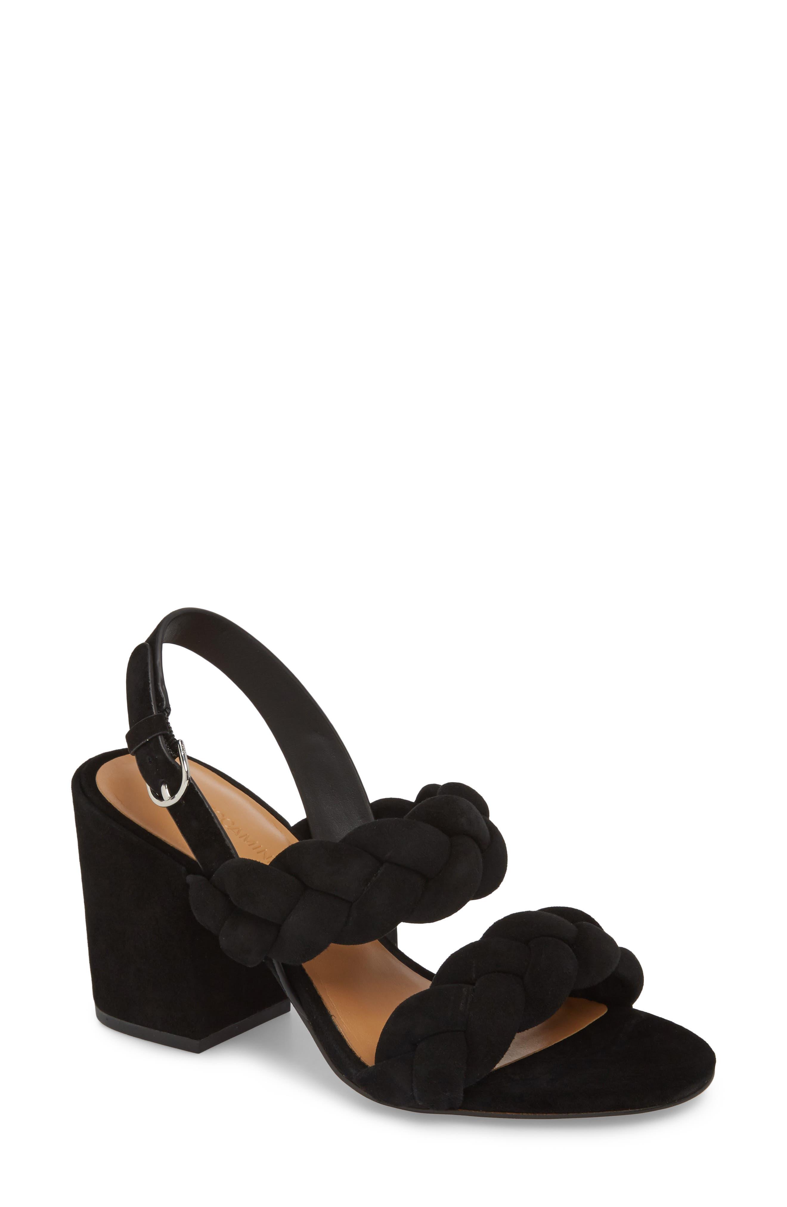 Candance Block Heel Sandal, Main, color, BLACK LEATHER
