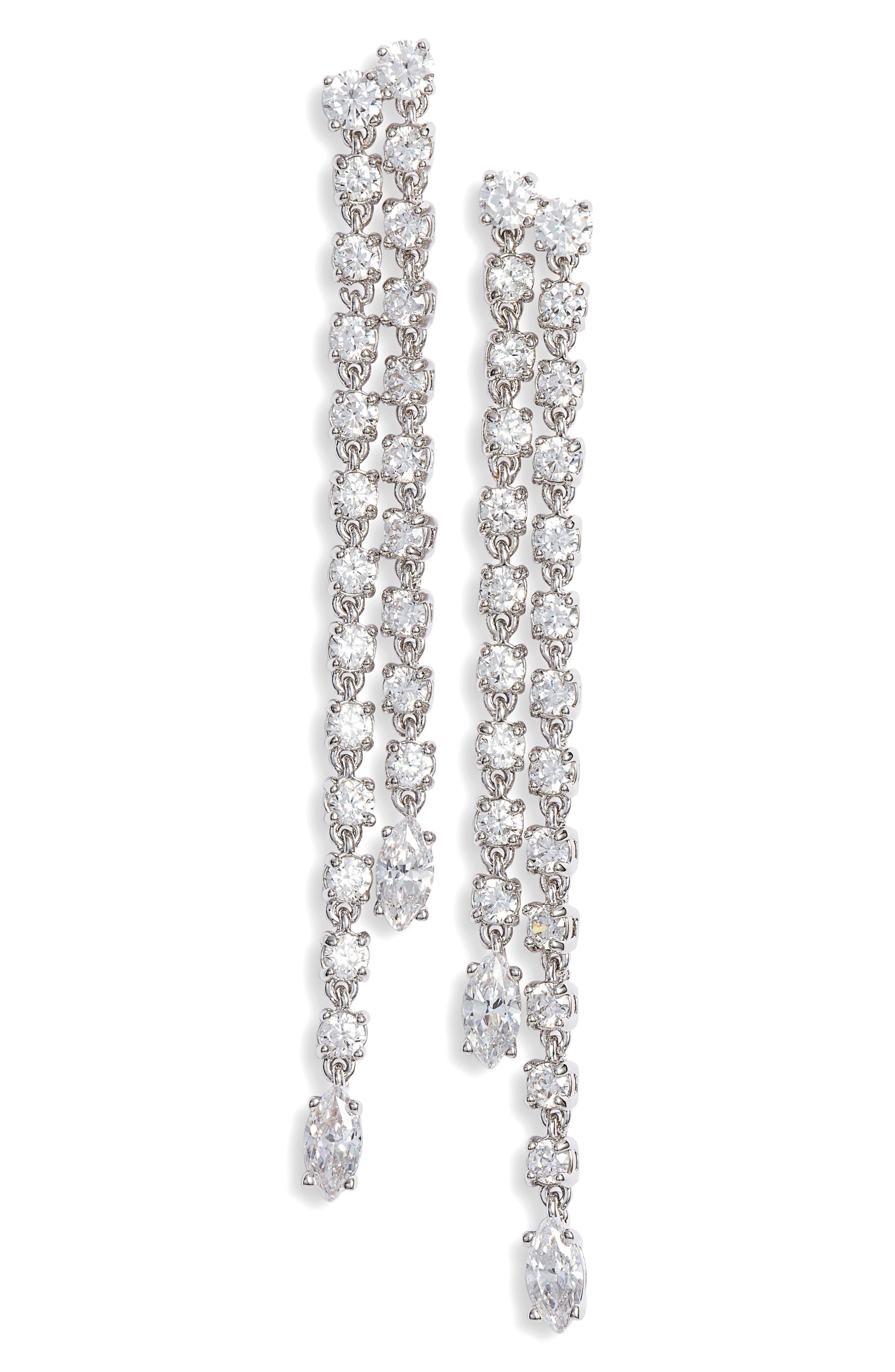 Linear Fringe Earrings,                             Main thumbnail 1, color,                             CLEAR- SILVER