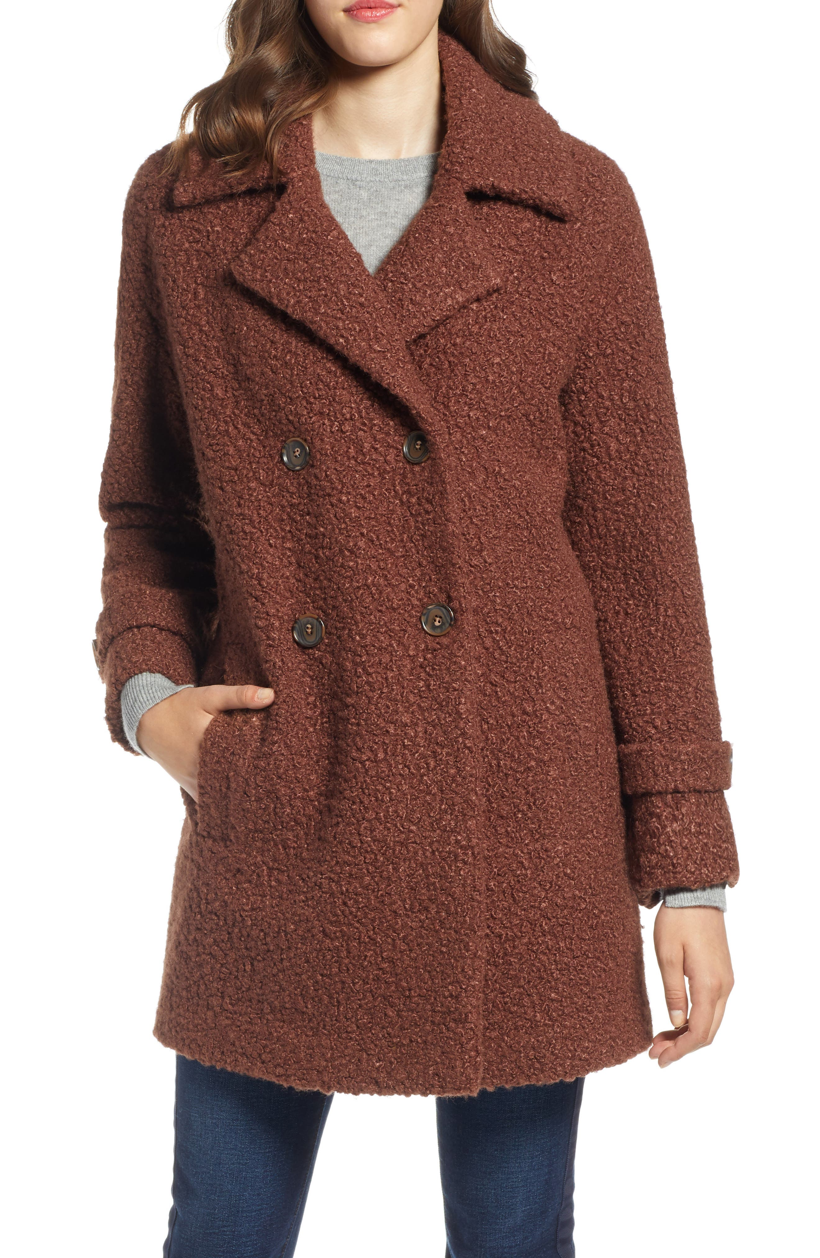 Double Breasted Bouclé Coat,                             Alternate thumbnail 4, color,                             COGNAC