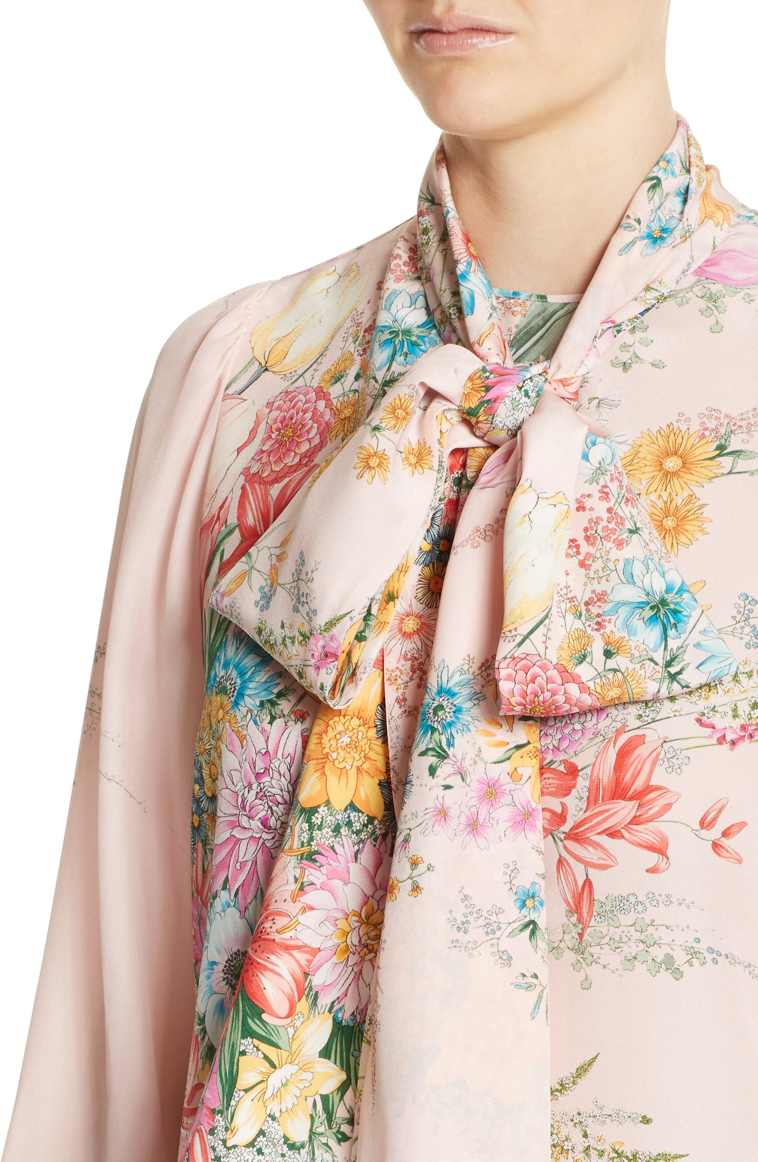 Floral Print Tie Neck Silk Shirt,                             Alternate thumbnail 4, color,                             100
