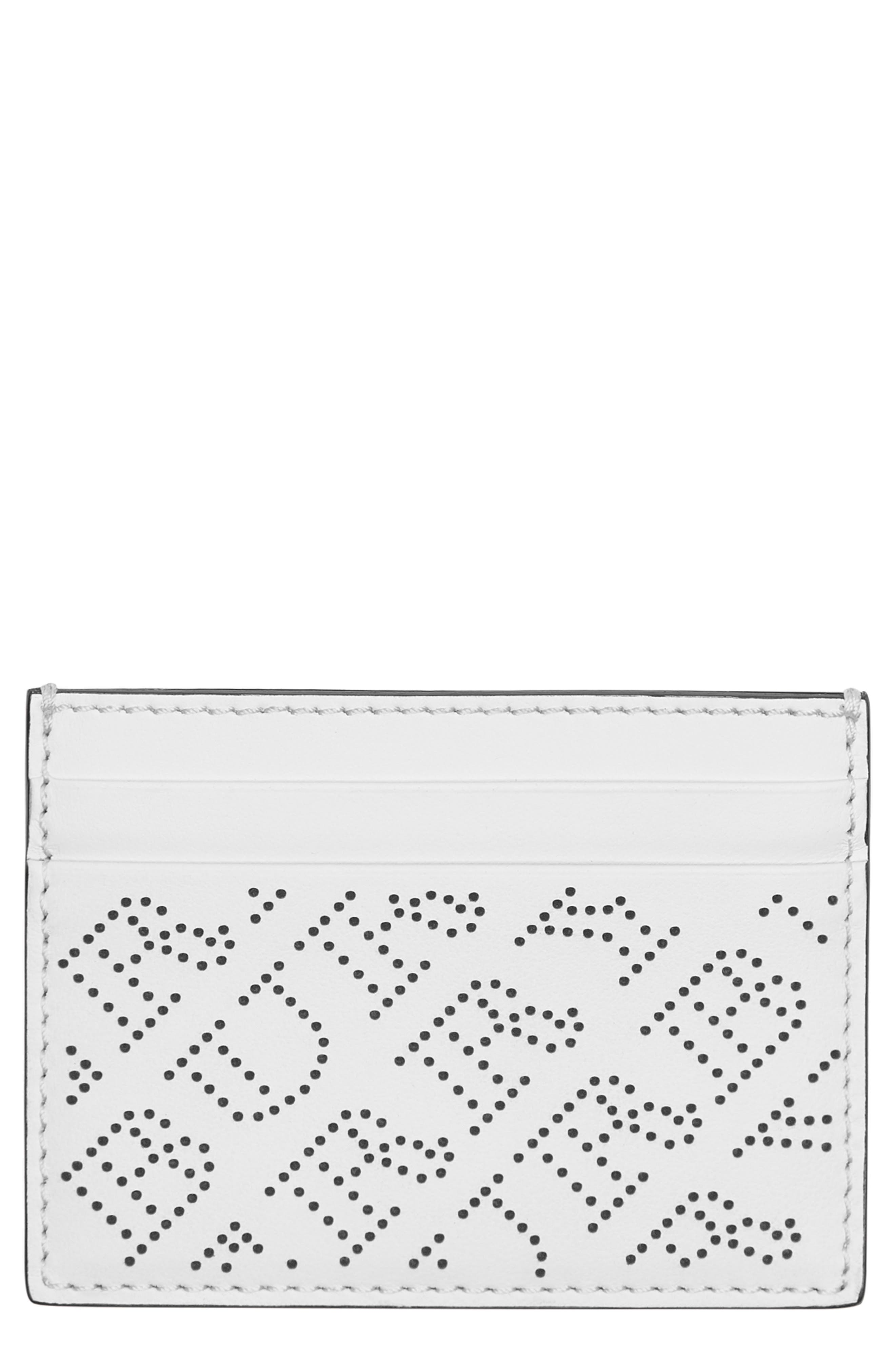 Sandon Perforated Logo Leather Card Case,                             Main thumbnail 1, color,                             WHITE