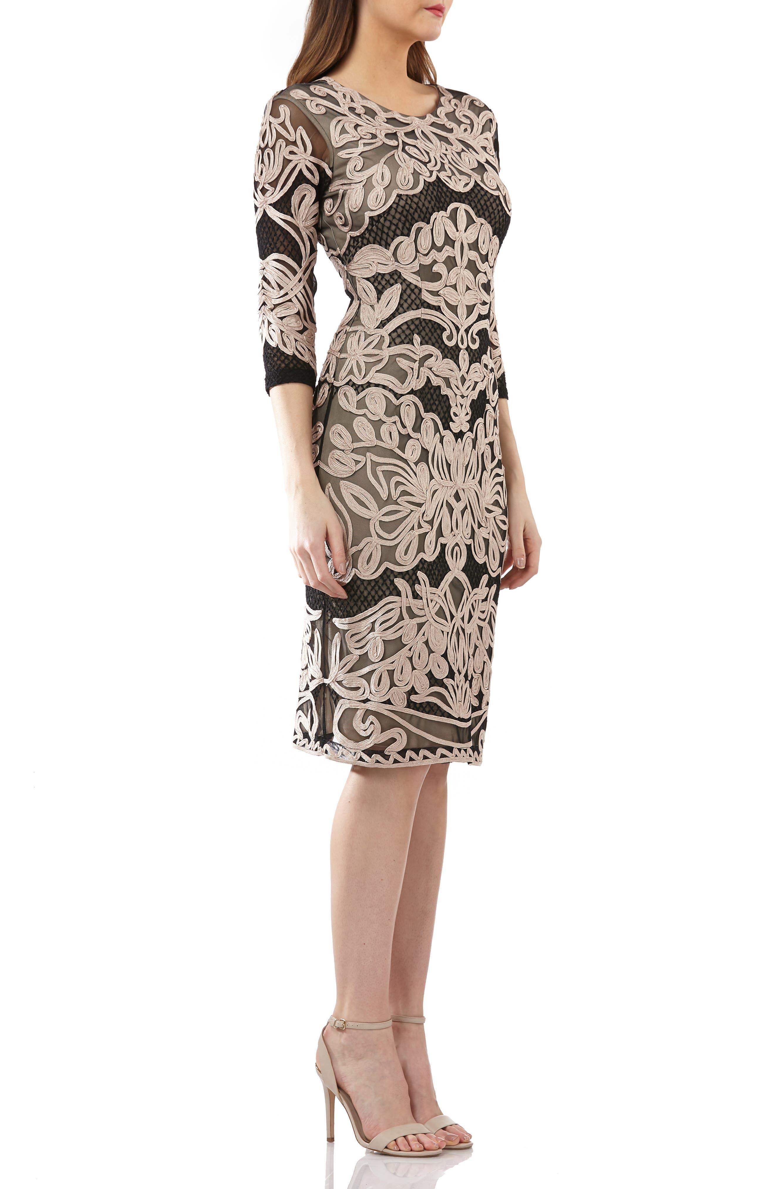 Soutache Sheath Dress,                             Alternate thumbnail 3, color,                             CHAMPAGNE/ BLACK
