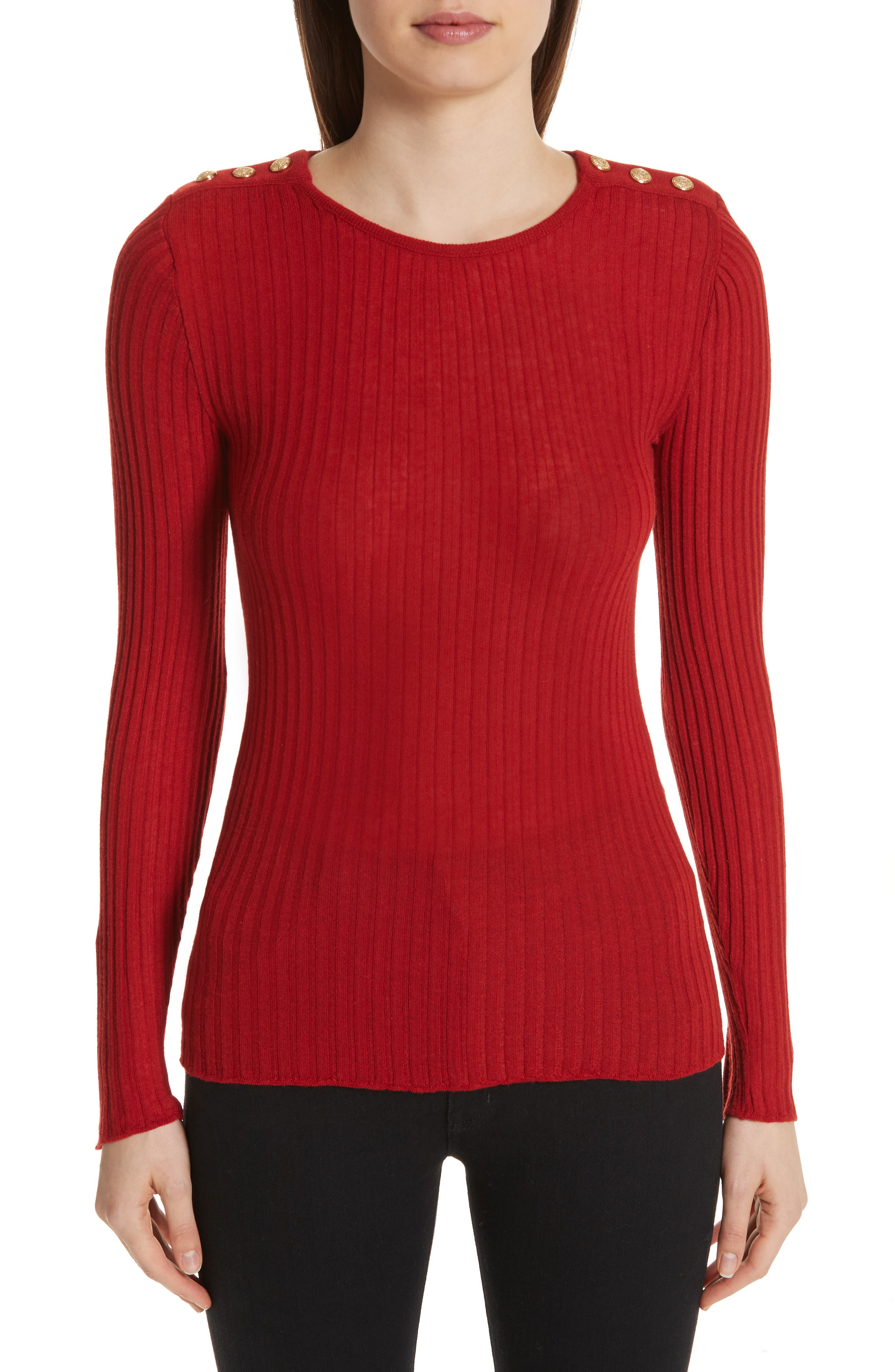Button Detail Ribbed Sweater,                         Main,                         color, ROUGE
