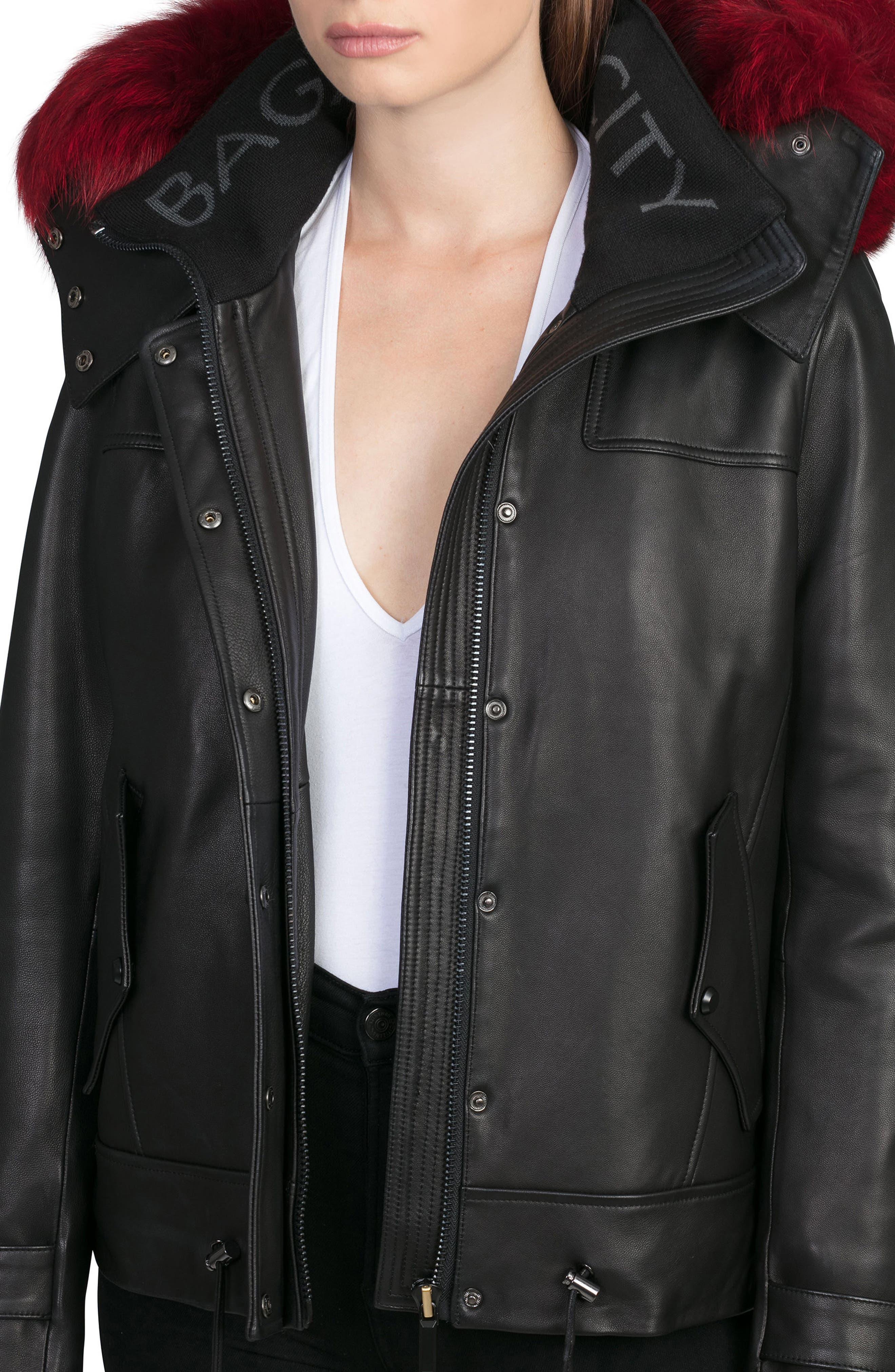 BAGATELLE.CITY The Aspen Leather Jacket with Genuine Fox Fur Trim,                             Alternate thumbnail 5, color,                             001