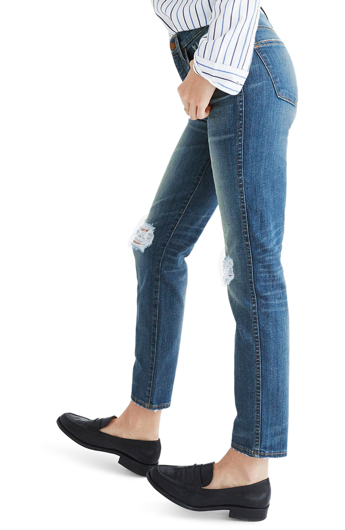 Distressed Slim Straight Leg Jeans,                             Alternate thumbnail 3, color,