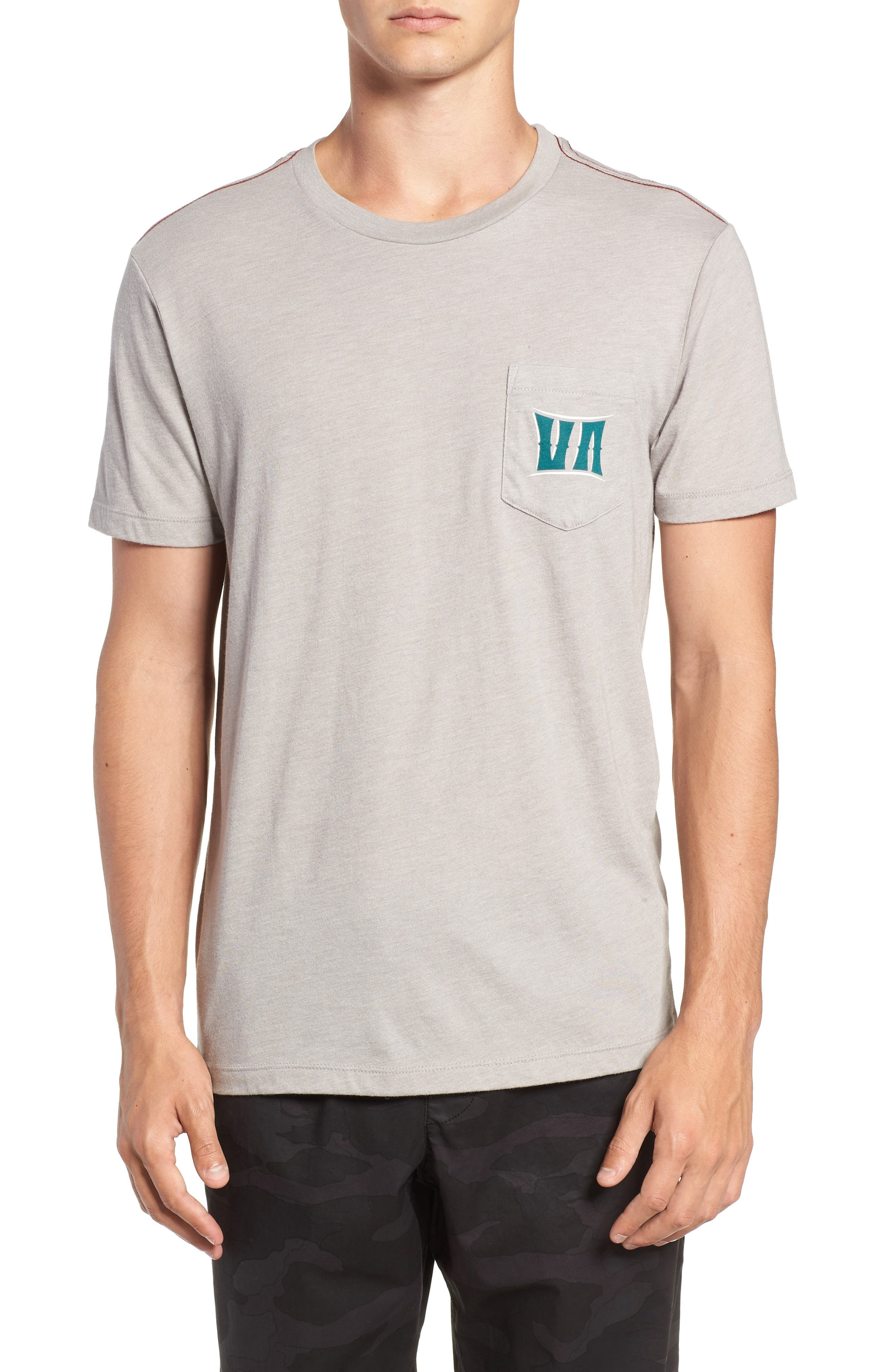 Rvca Sagebrush Graphic Pocket T-Shirt, Grey